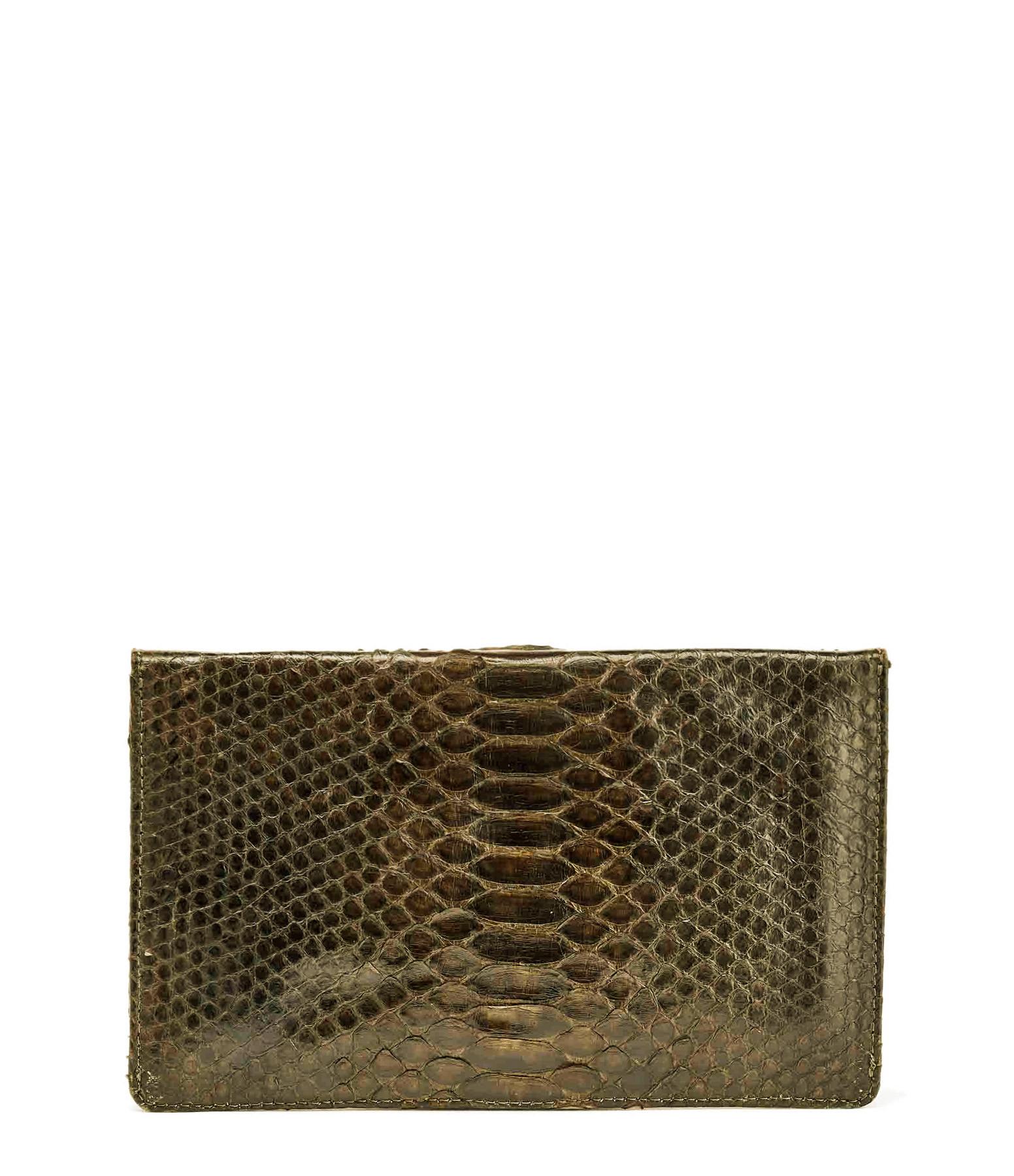CLARIS VIROT - Pochette Big Alex Python Kaki