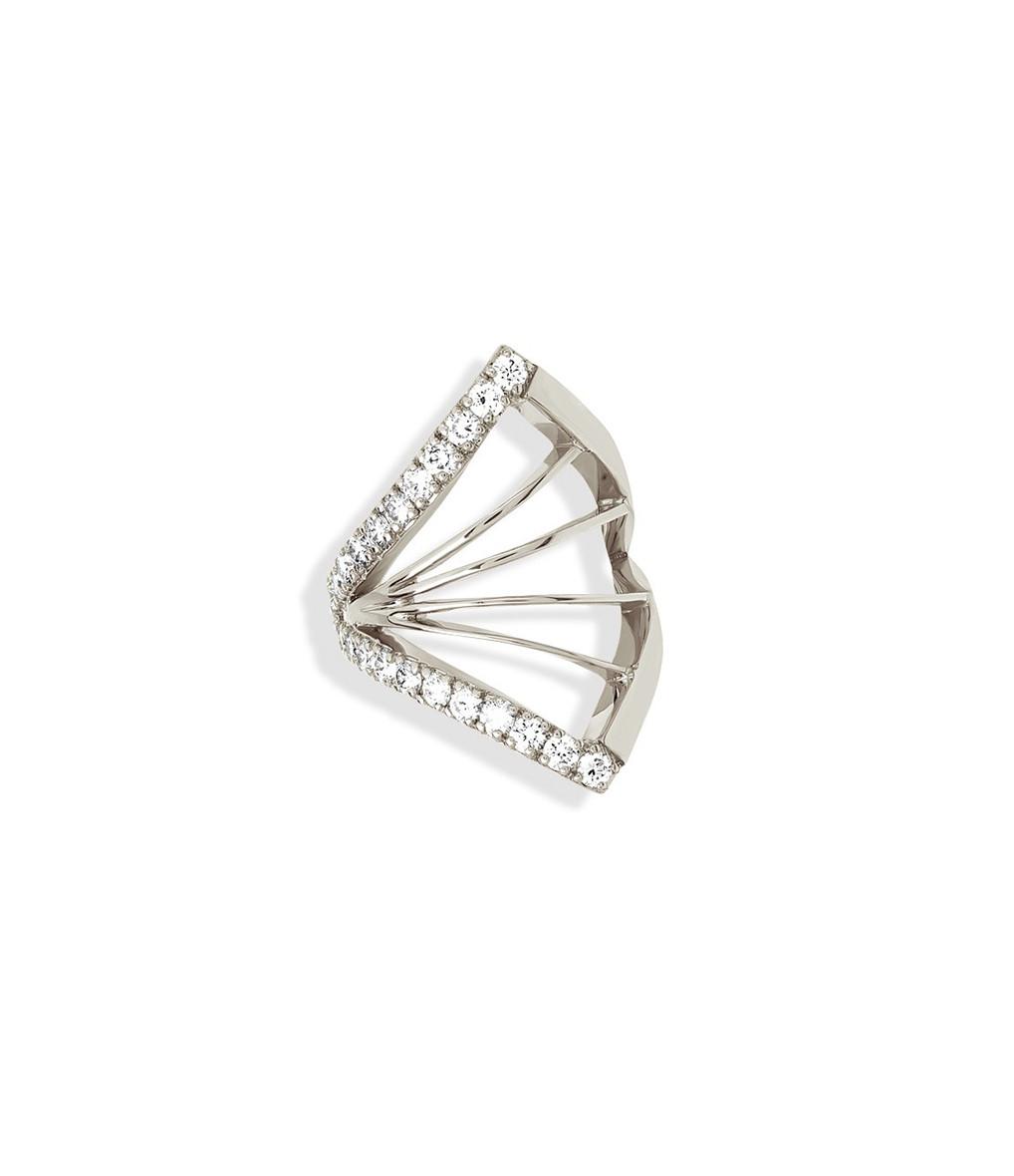 NAVA JOAILLERIE - Bijou d'oreille Cheyenne Losange Diamants Or Blanc