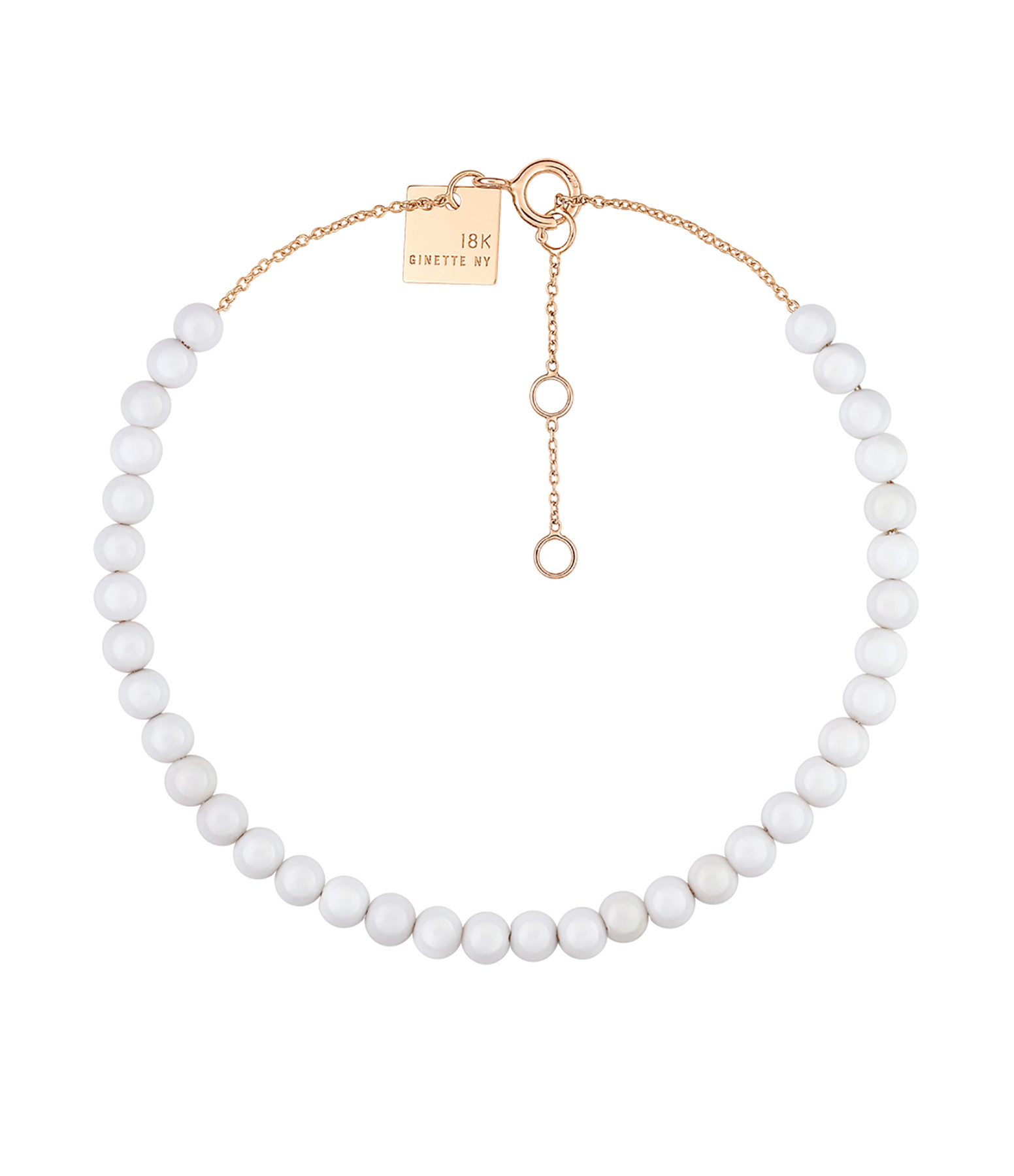 GINETTE NY - Bracelet Maria Mini Or Rose Agate Blanche