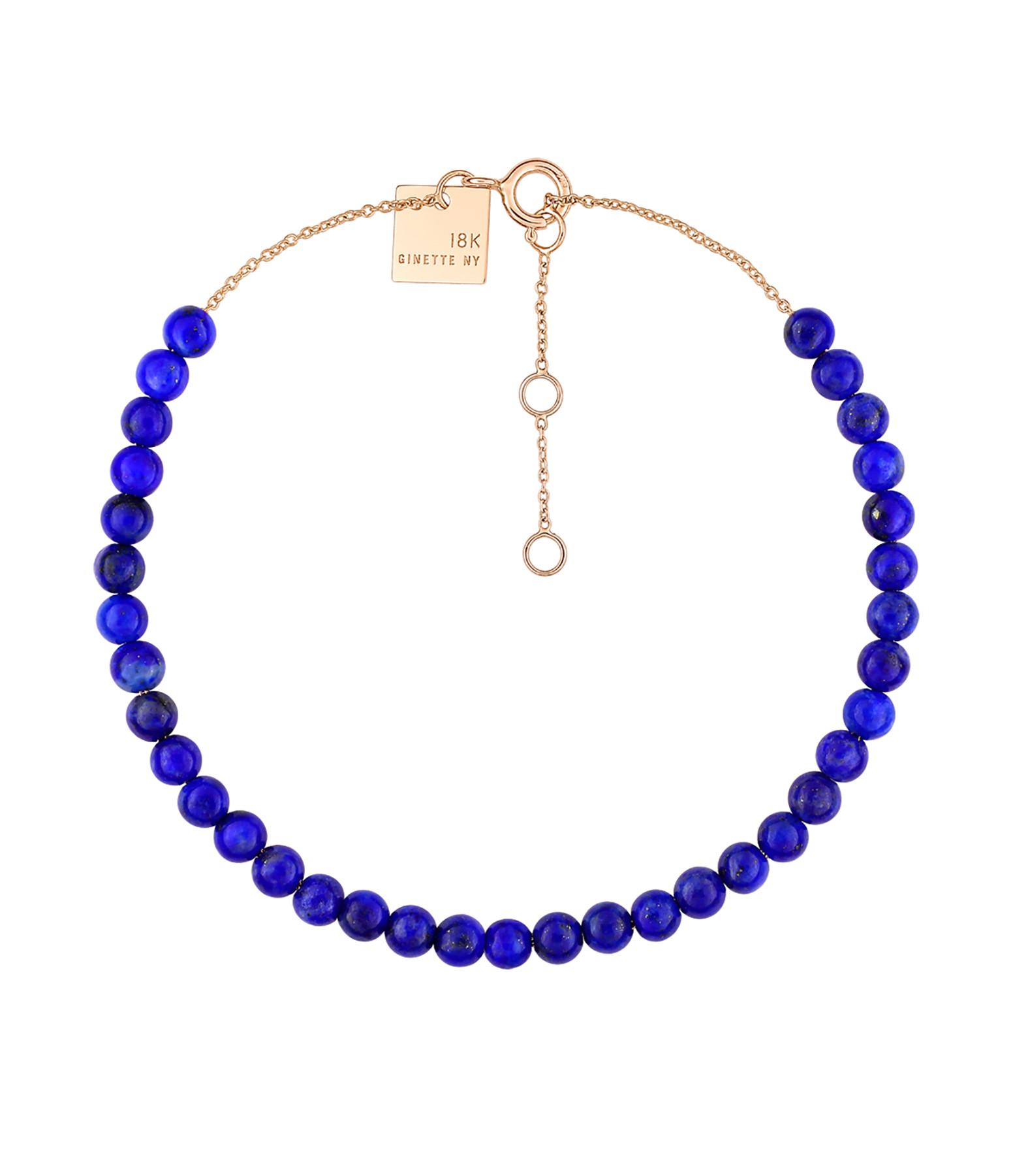 GINETTE NY - Bracelet Maria Mini Or Rose Lapis Lazuli