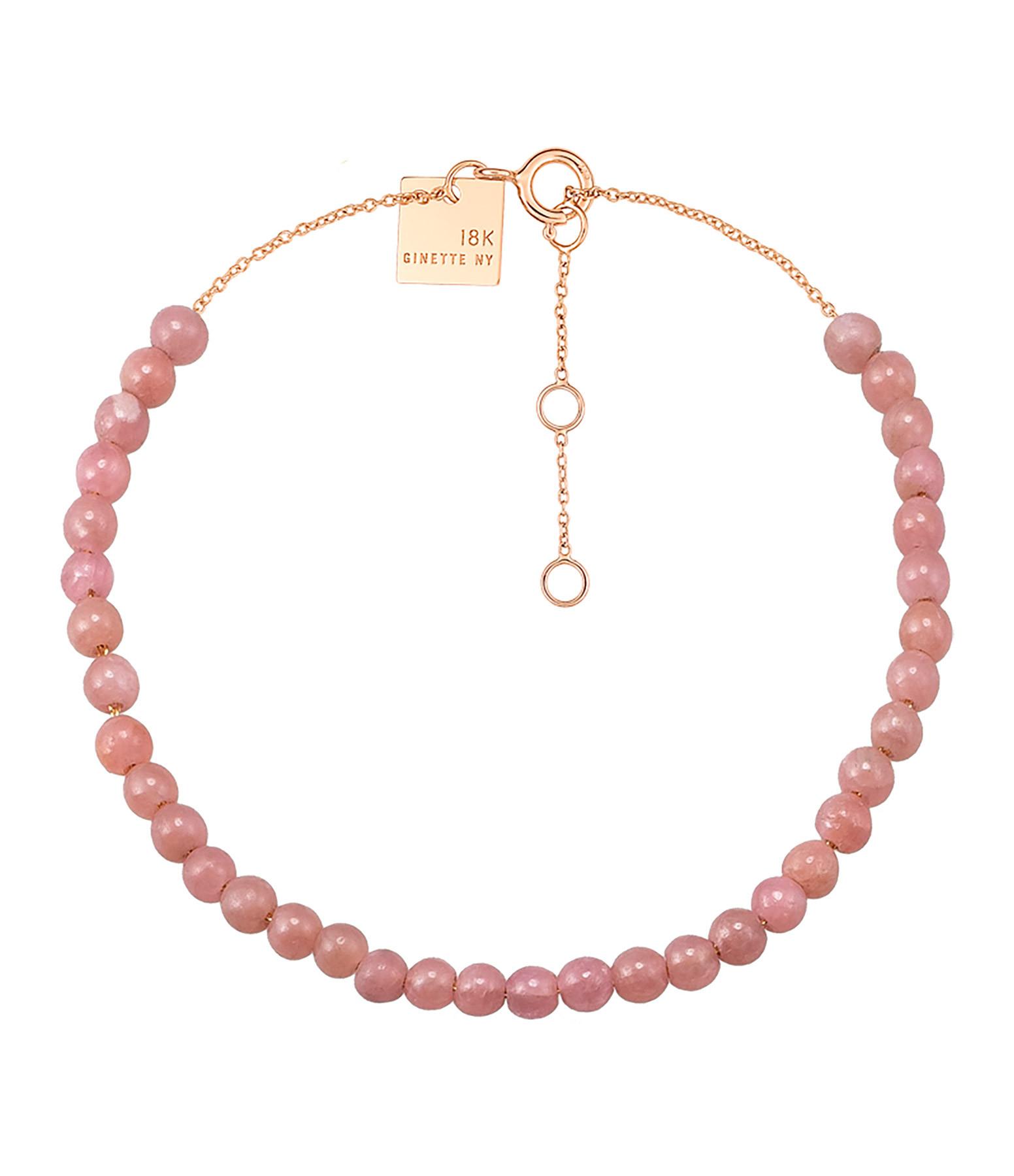GINETTE NY - Bracelet Maria Mini Or Rose Rhodocrosite