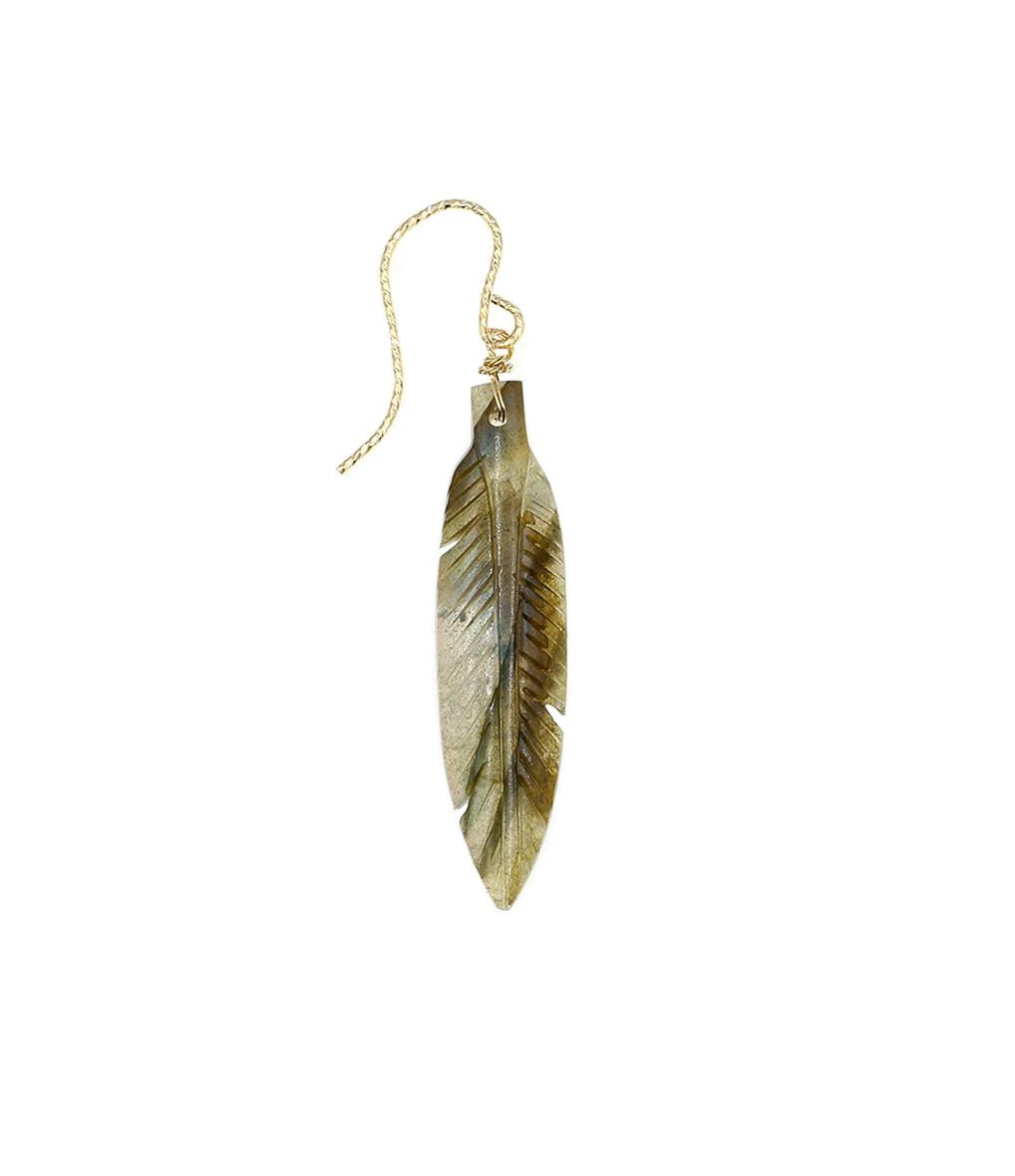 MON PRECIEUX GEM - Boucle d'oreille Plume Labradorite (vendue à l'unité)