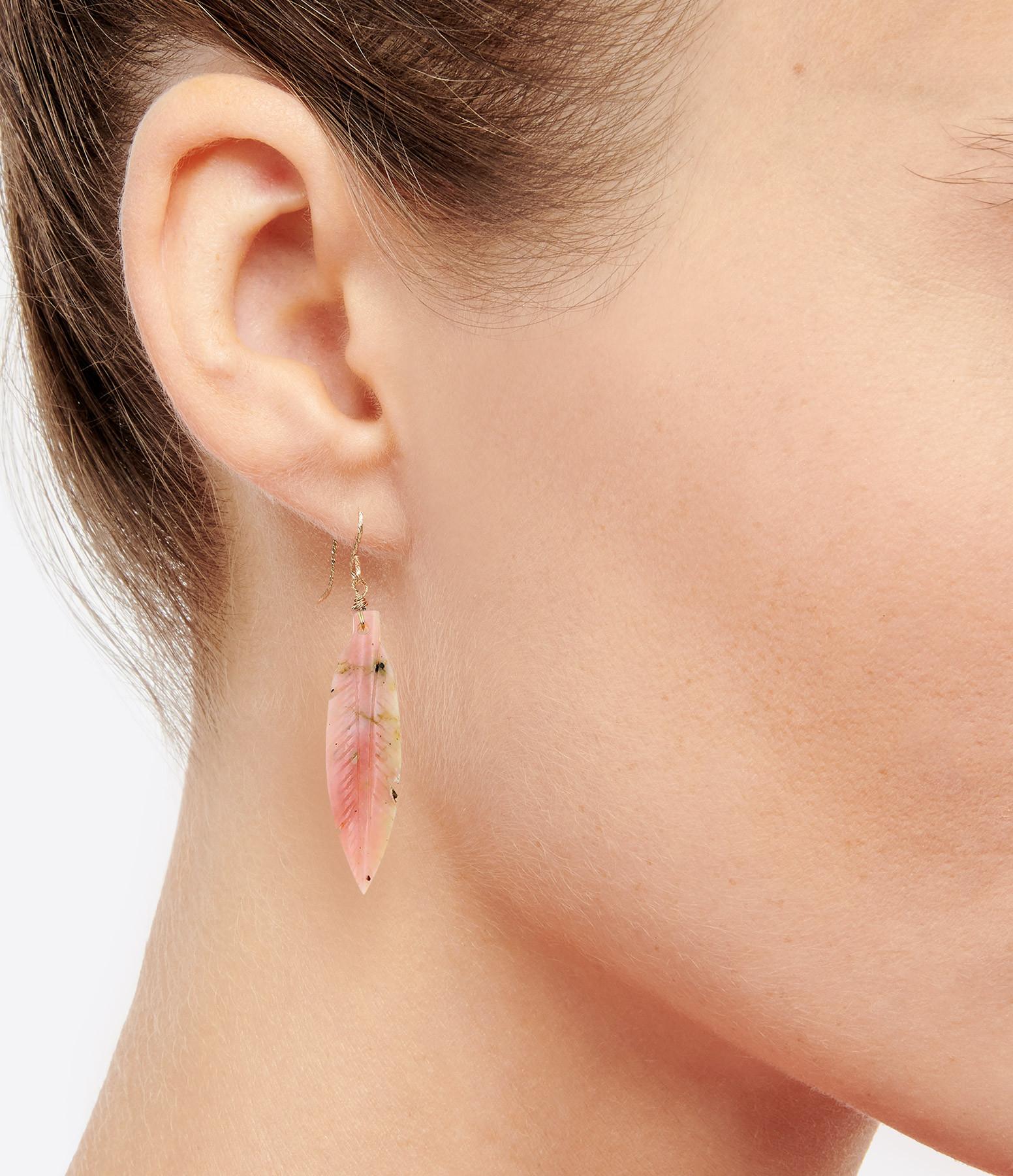 MON PRECIEUX GEM - Boucle d'oreille Plume Opale Rose (unité)