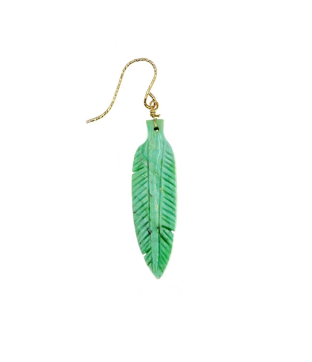 MON PRECIEUX GEM - Boucle d'oreille Plume Turquoise (vendue à l'unité)