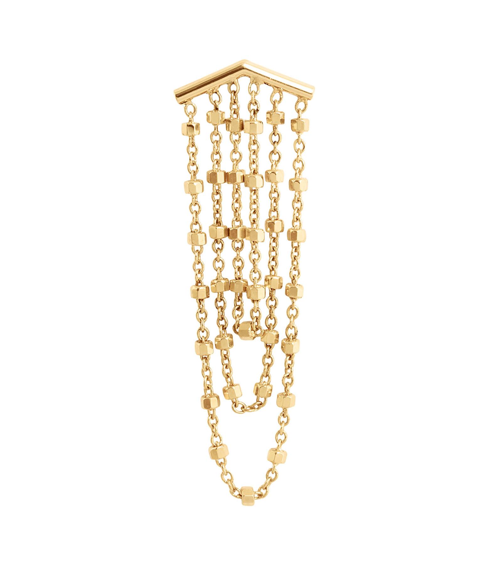CHARLET - Boucle d'oreille Diamantée 3 Chaînes Or Jaune (vendue à l'unité)