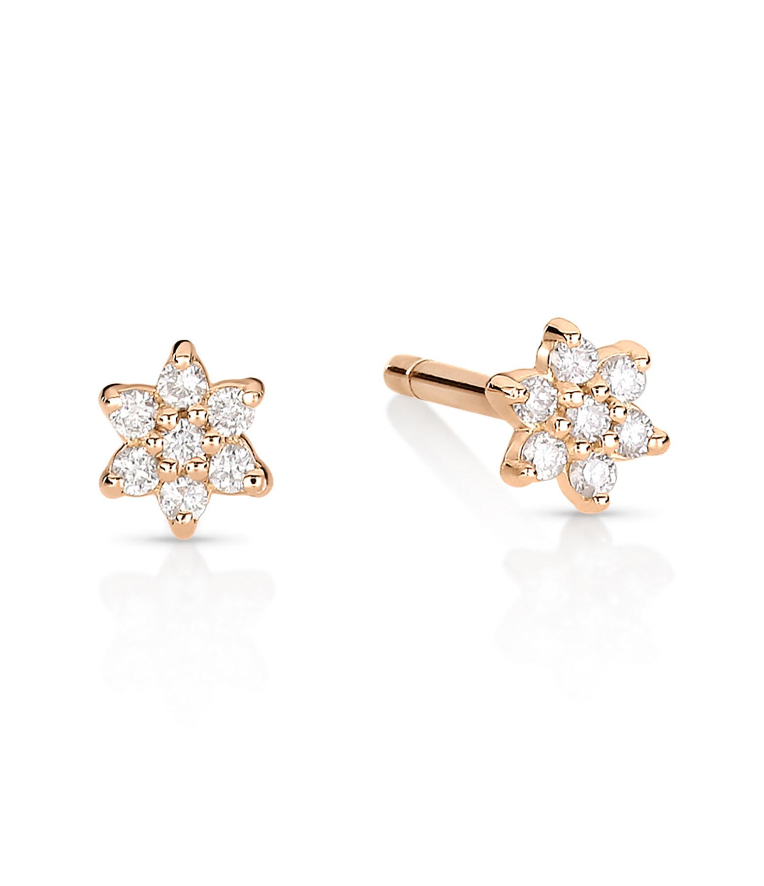 GINETTE NY - Boucles d'oreilles Mini Star Puces Diamants OR