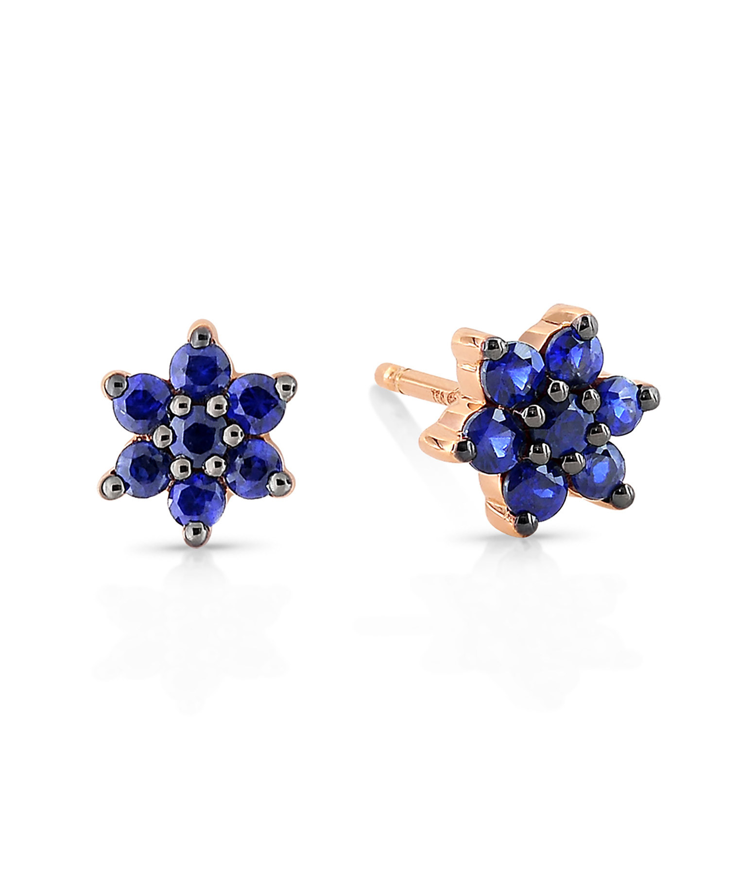 GINETTE NY - Boucles d'oreilles Star Puces Saphirs Or Rose