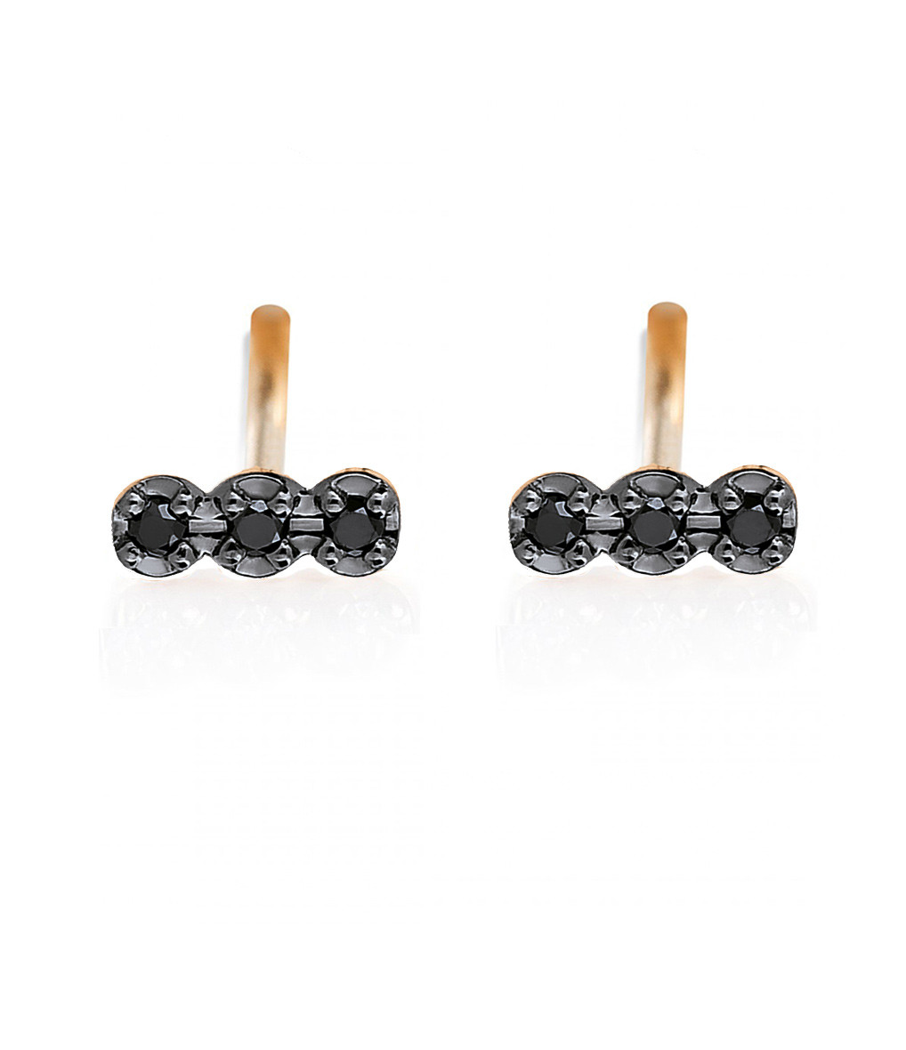 GINETTE_NY - Boucles d'oreilles Black Diamonds Icons 3 Diamants Or Rose