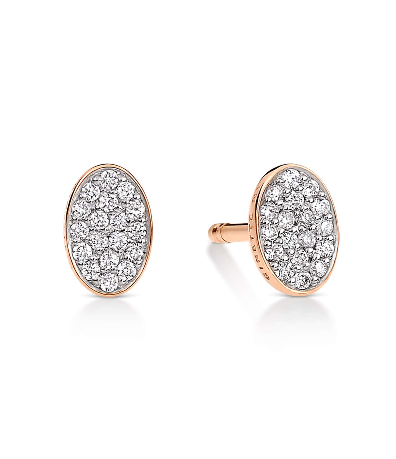 GINETTE_NY - Boucles d'oreilles Sequin Or Rose Diamants
