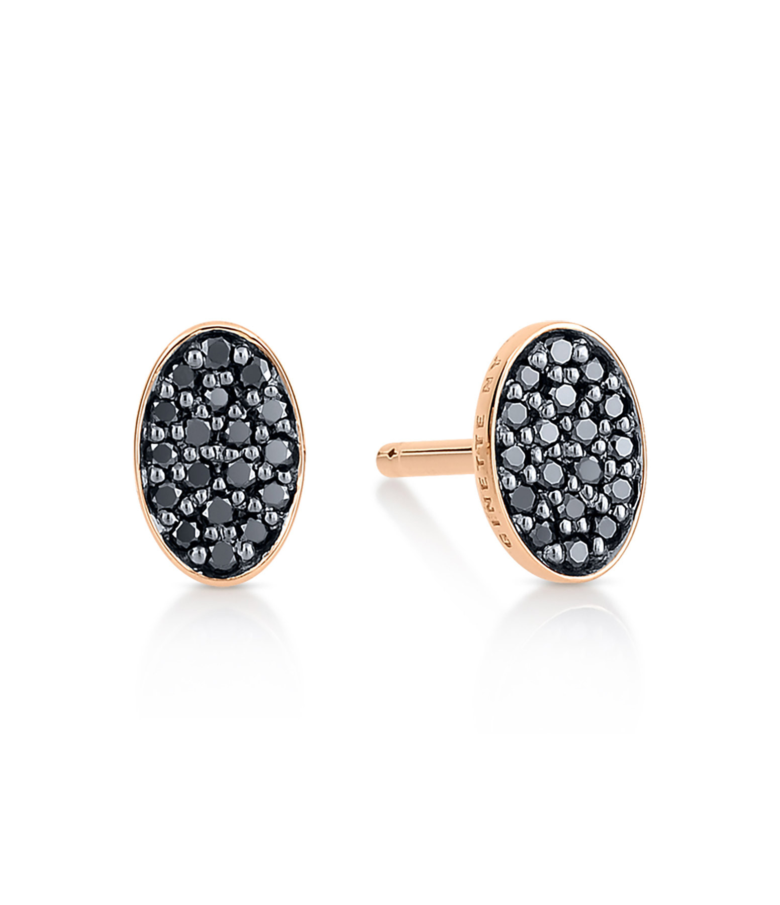 GINETTE_NY - Boucles d'oreilles Sequin Or Rose Diamants Noirs