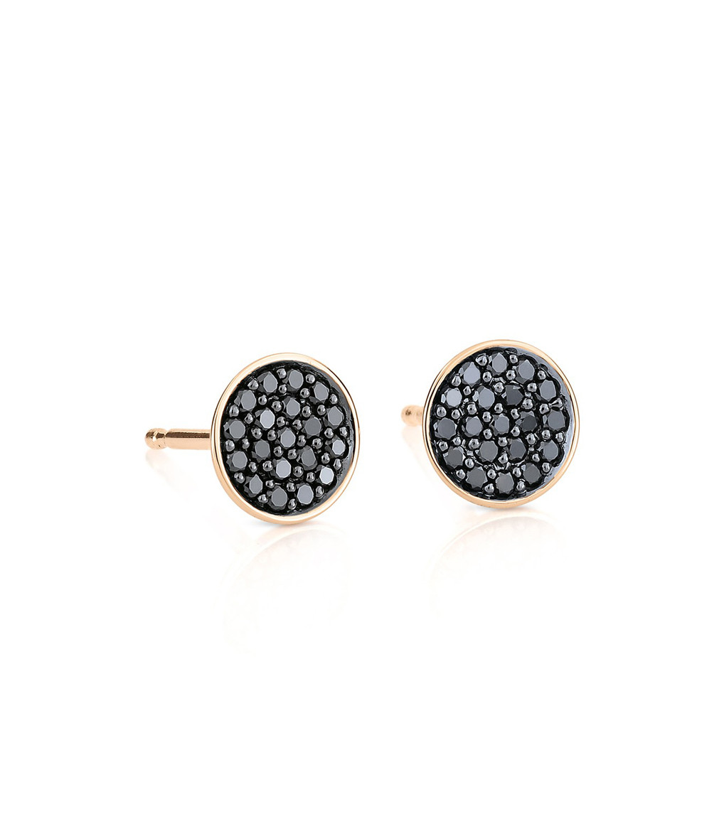 GINETTE_NY - Boucles d'oreilles Black Diamonds Icons Diamants Or Rose