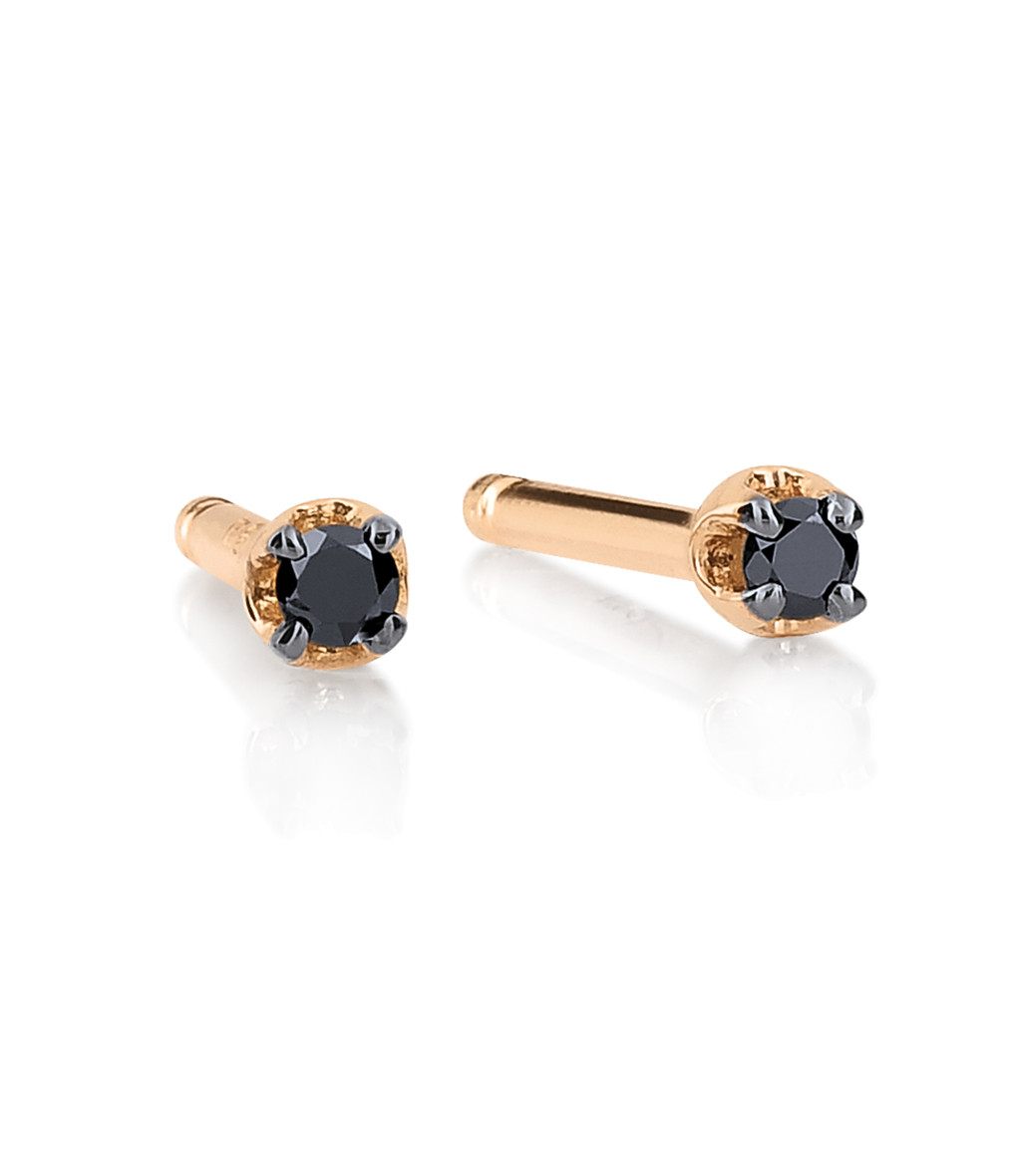 GINETTE_NY - Boucles d'oreilles Black Diamonds Icons Mini Diamants Or Rose