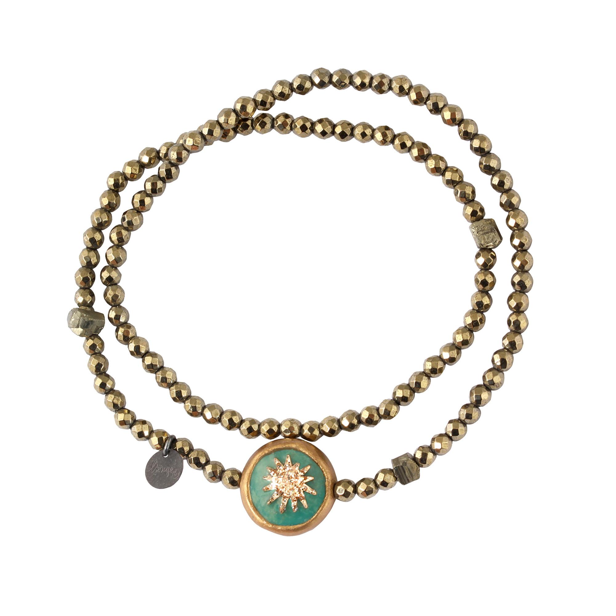 LSONGE - Bracelet Soleil Double Hématite Kaki 1 Turquoise