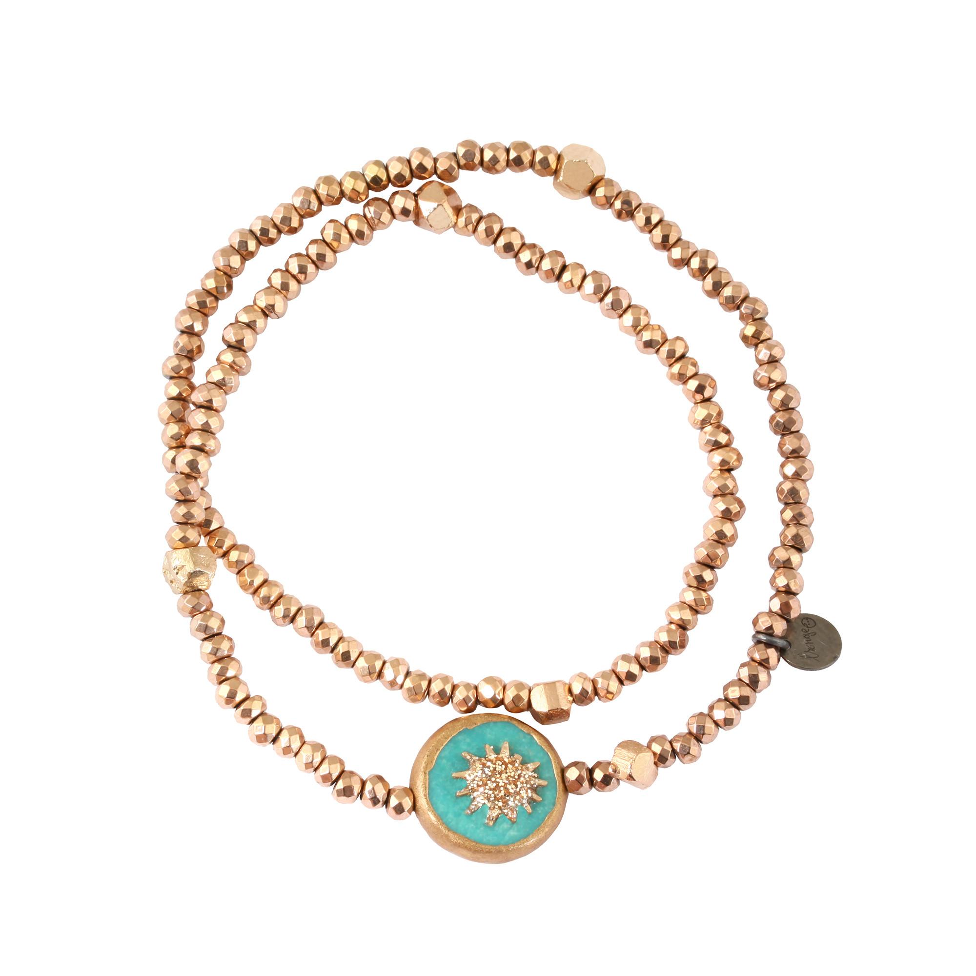 LSONGE - Bracelet Soleil Double Pyrite Rose 1 Turquoise
