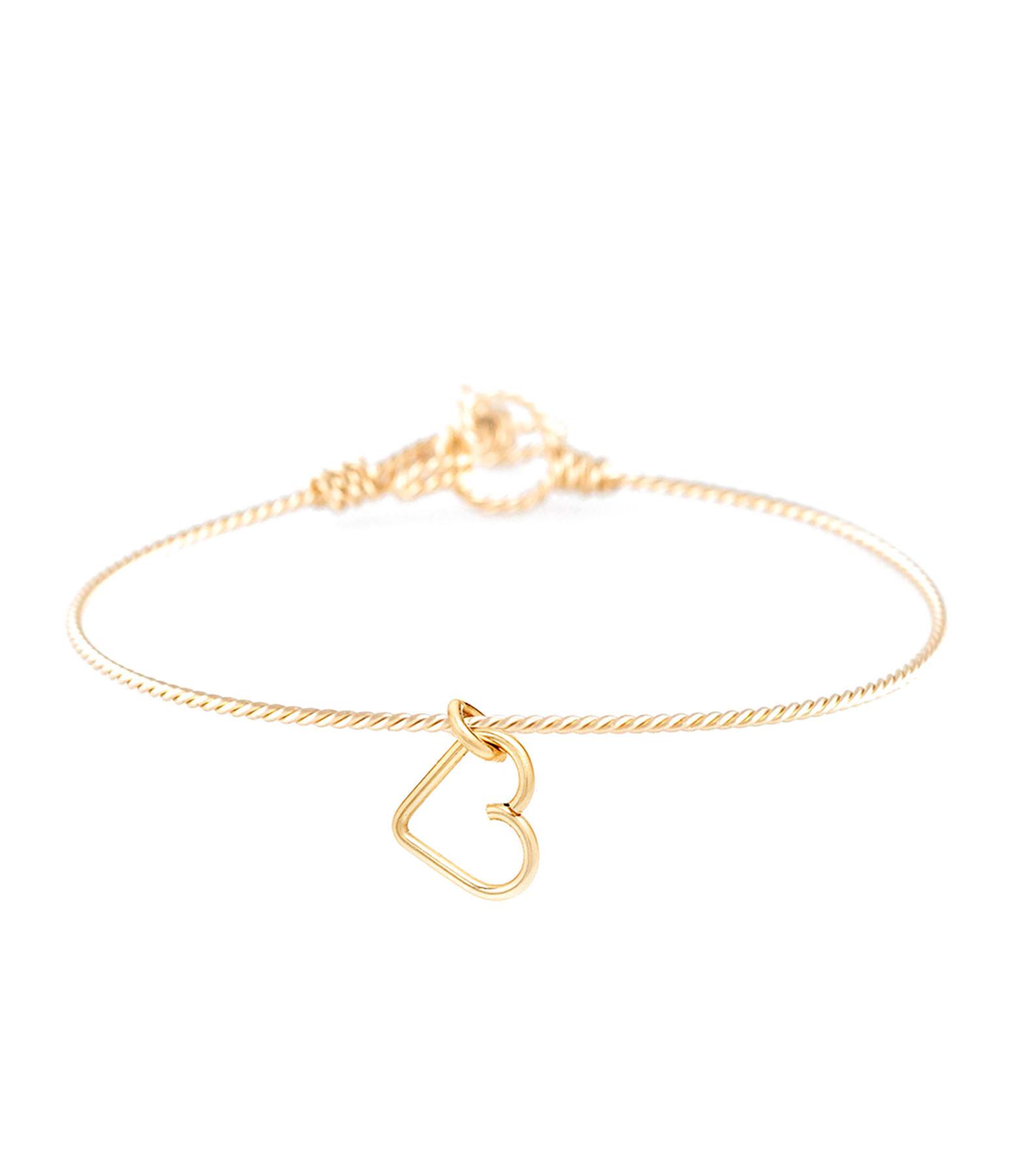 ATELIER PAULIN - Bracelet Nude Tors et Charms Cœur S Gold Filled 14K Jaune