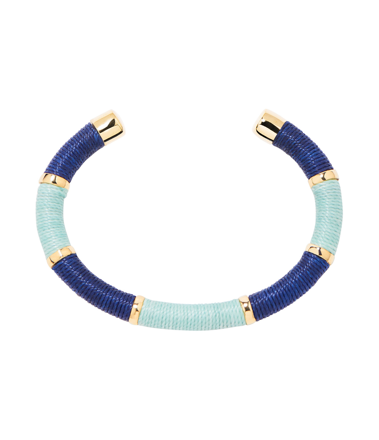 AURELIE BIDERMANN - Jonc Becky PM Fils Turquoise Bleu Plaqué Or