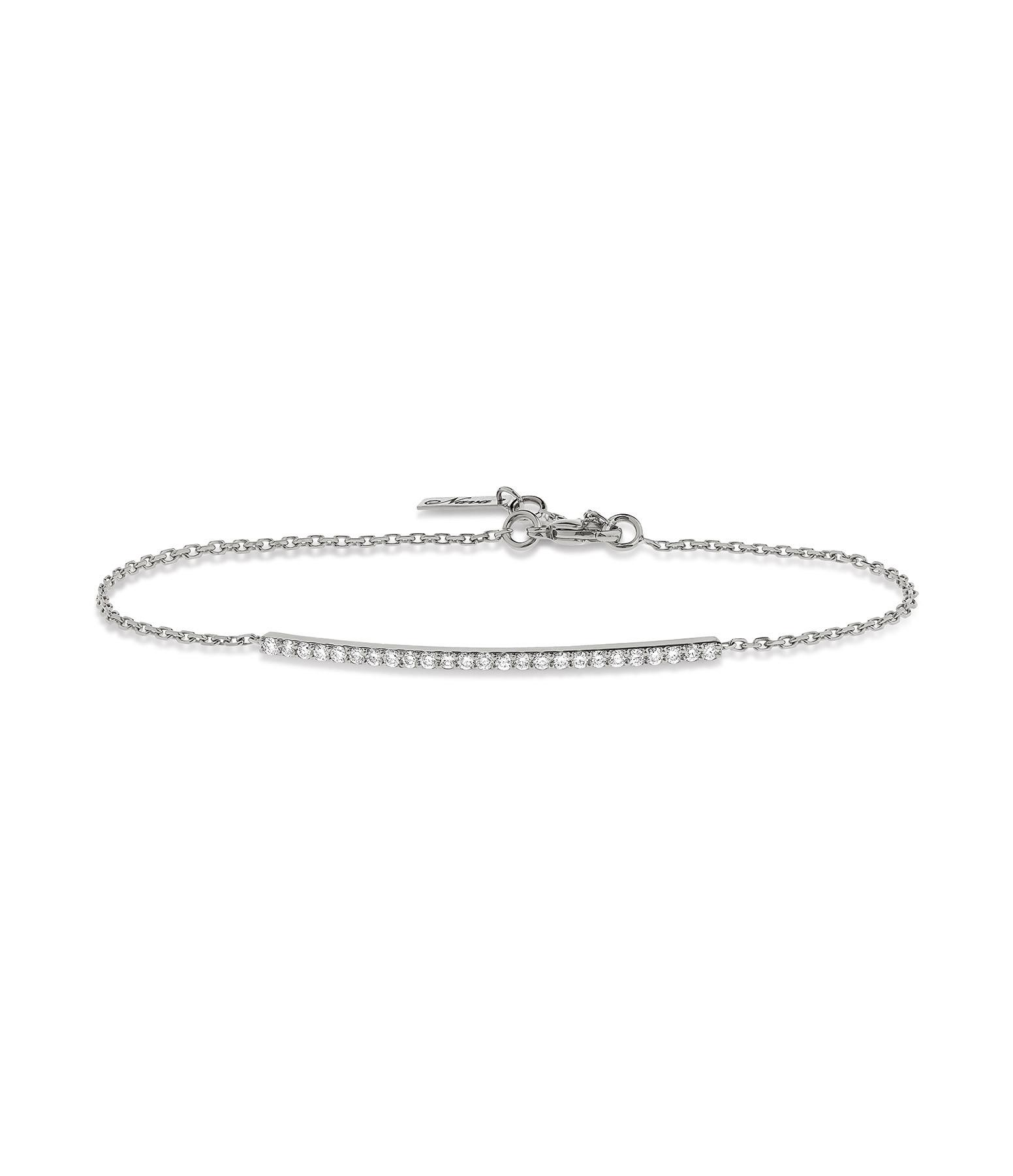 NAVA JOAILLERIE - Bracelet Hash Barrette Chaîne Or Blanc