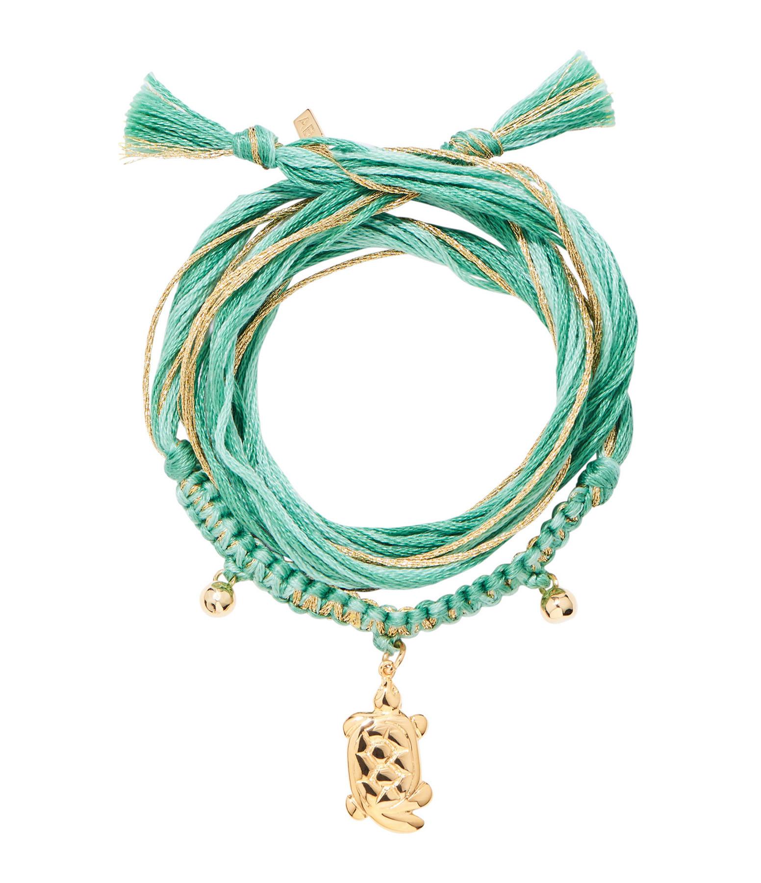 AURELIE BIDERMANN - Bracelet Honolulu Charm Tortue Vert Plaqué Or