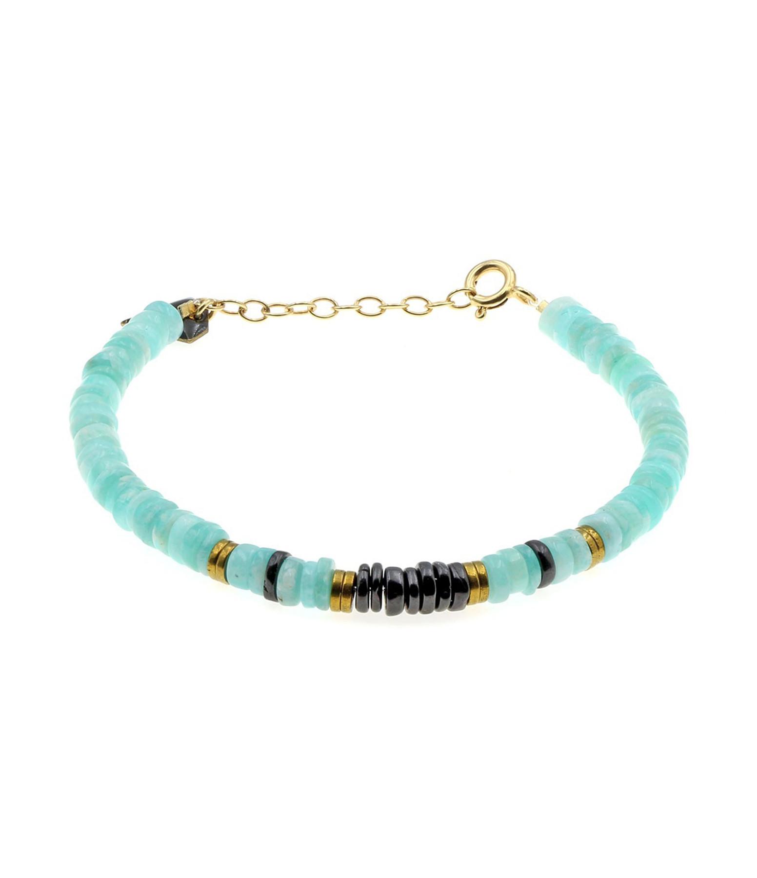 MON PRECIEUX GEM - Bracelet Puka Amazonite Onyx