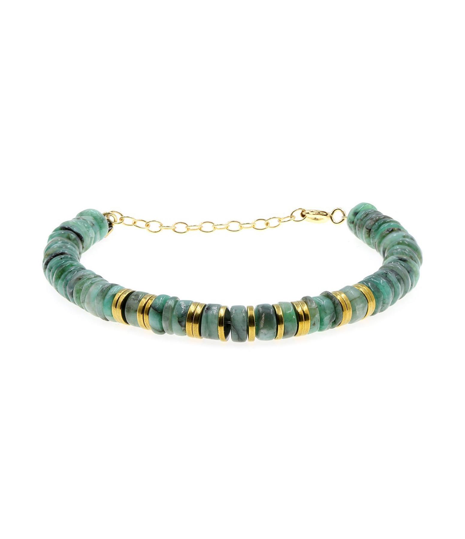 MON PRECIEUX GEM - Bracelet Puka Emeraude Hématite