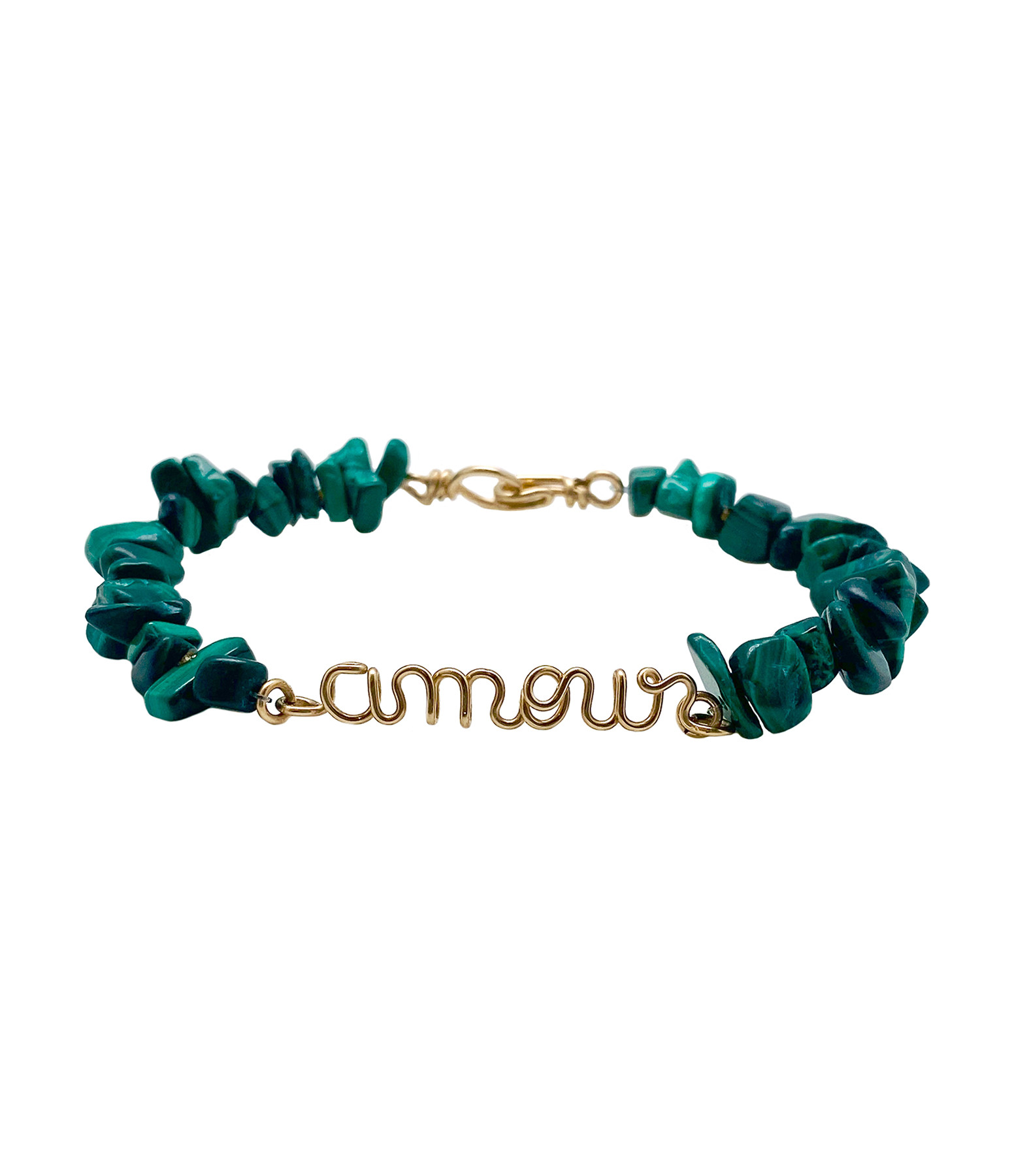 ATELIER PAULIN - Bracelet Amour Golf Filled Malachite