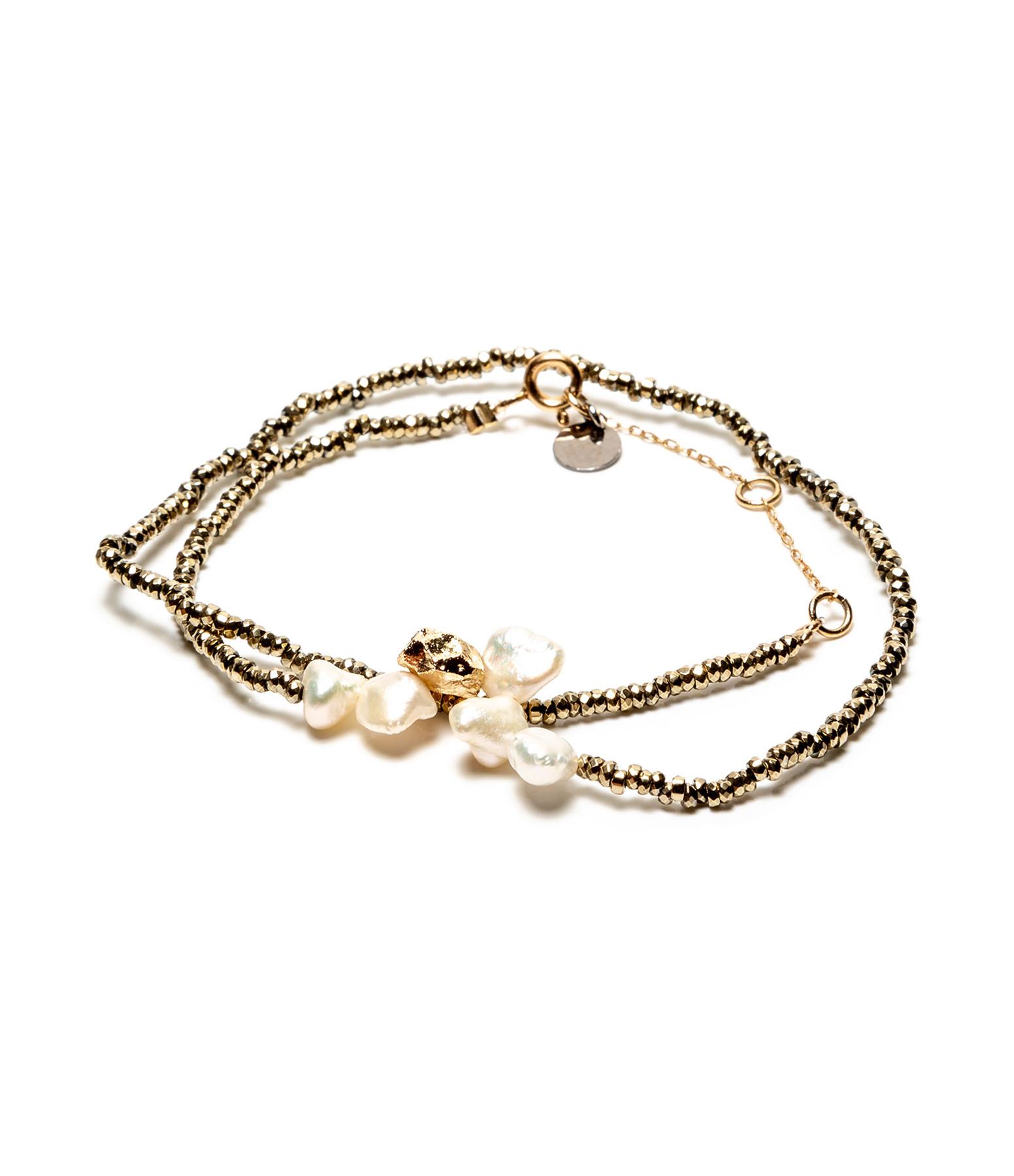 LSONGE - Bracelet Double Perle Blanche Hématite Kaki AGD