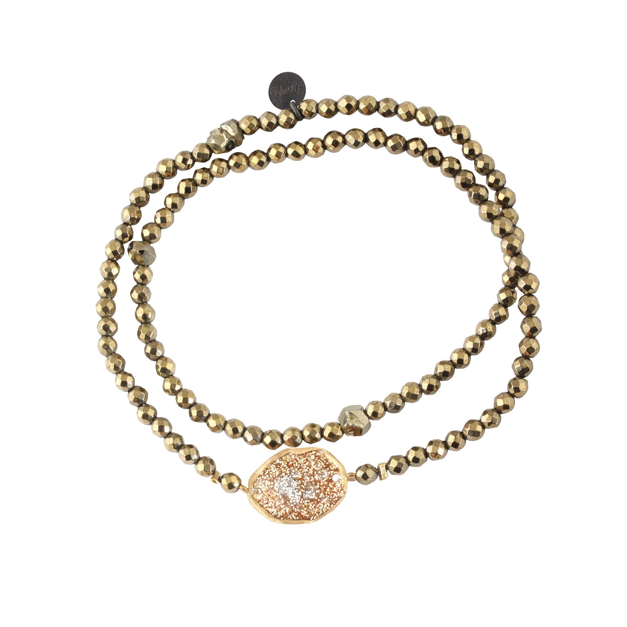 LSONGE - Bracelet Double Eclat Médaille M Argent Doré Hématite Kaki