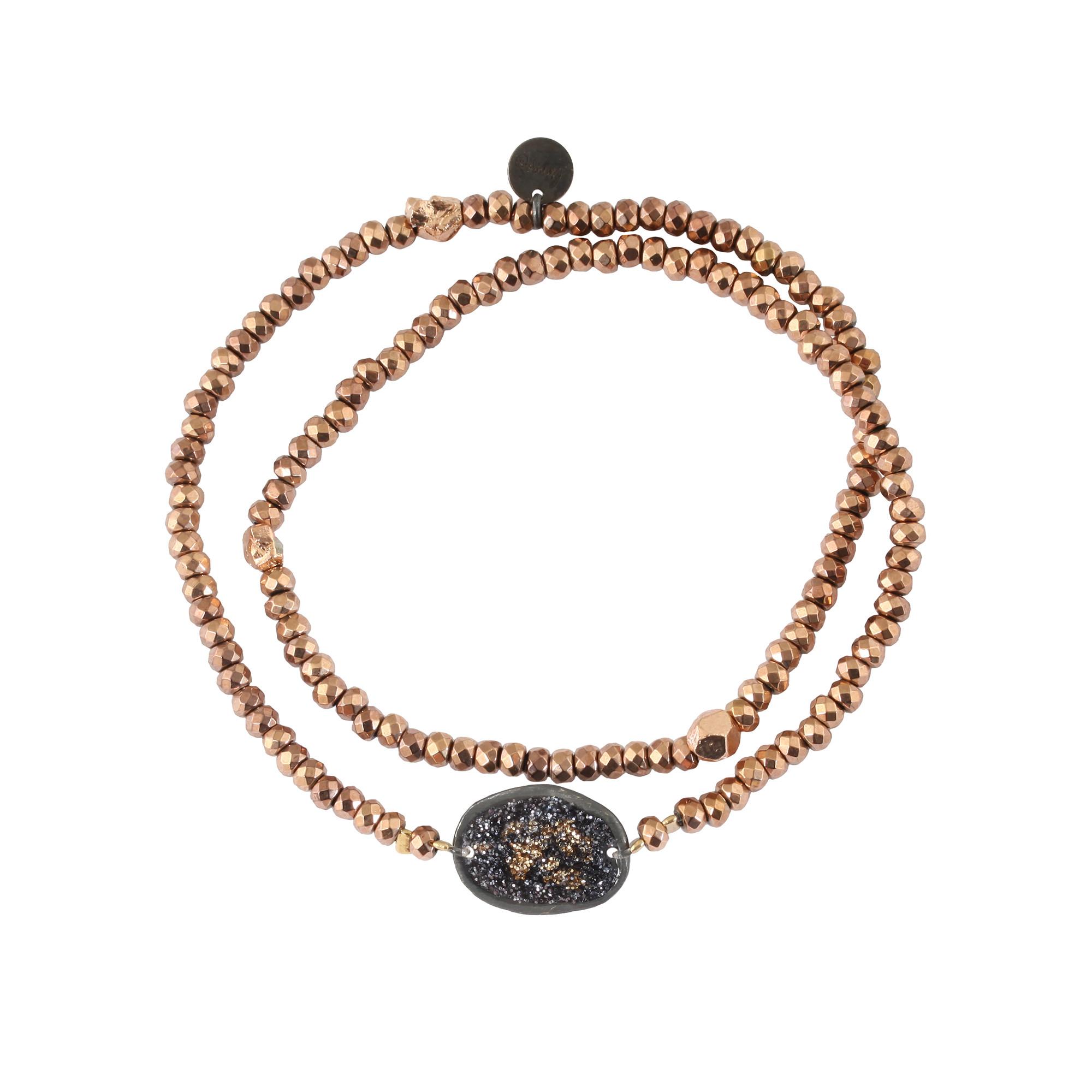 LSONGE - Bracelet Double Eclat Médaille M Argent Noir Hématite Rose