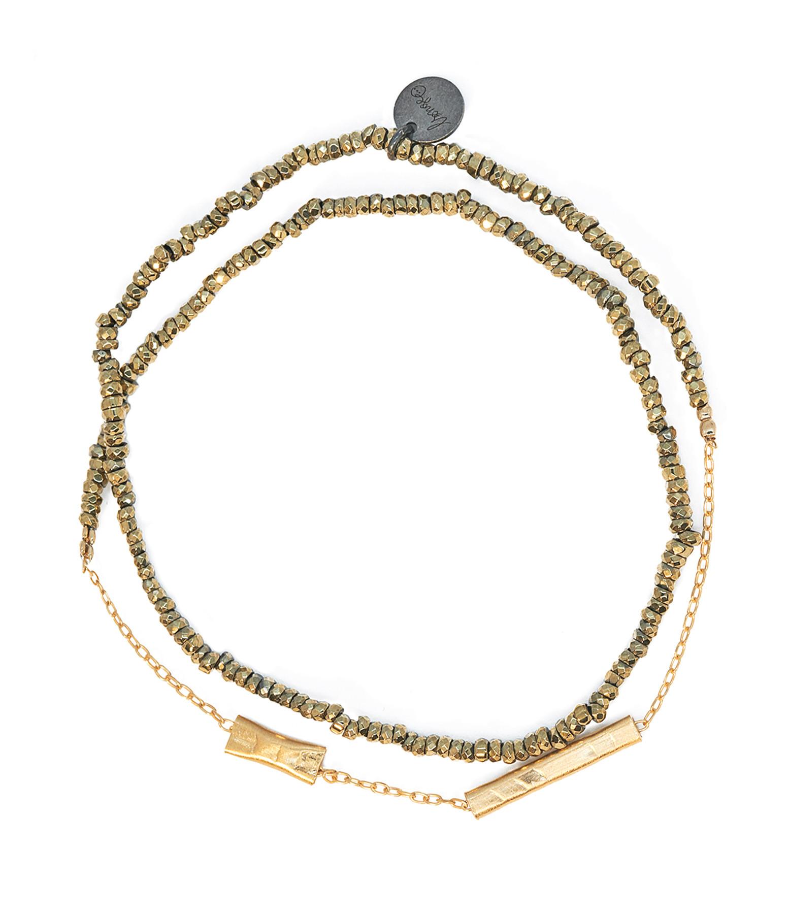 LSONGE - Bracelet Double Graphik Stone Argent Doré Kaki