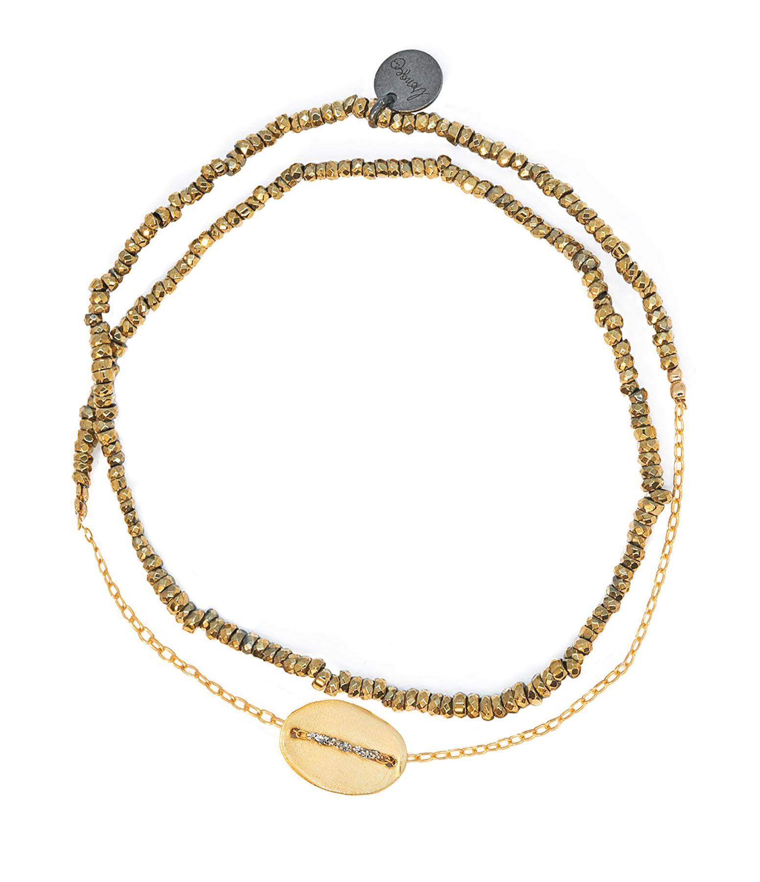 LSONGE - Bracelet Double Graphik Stone Médaille Argent Doré Kaki