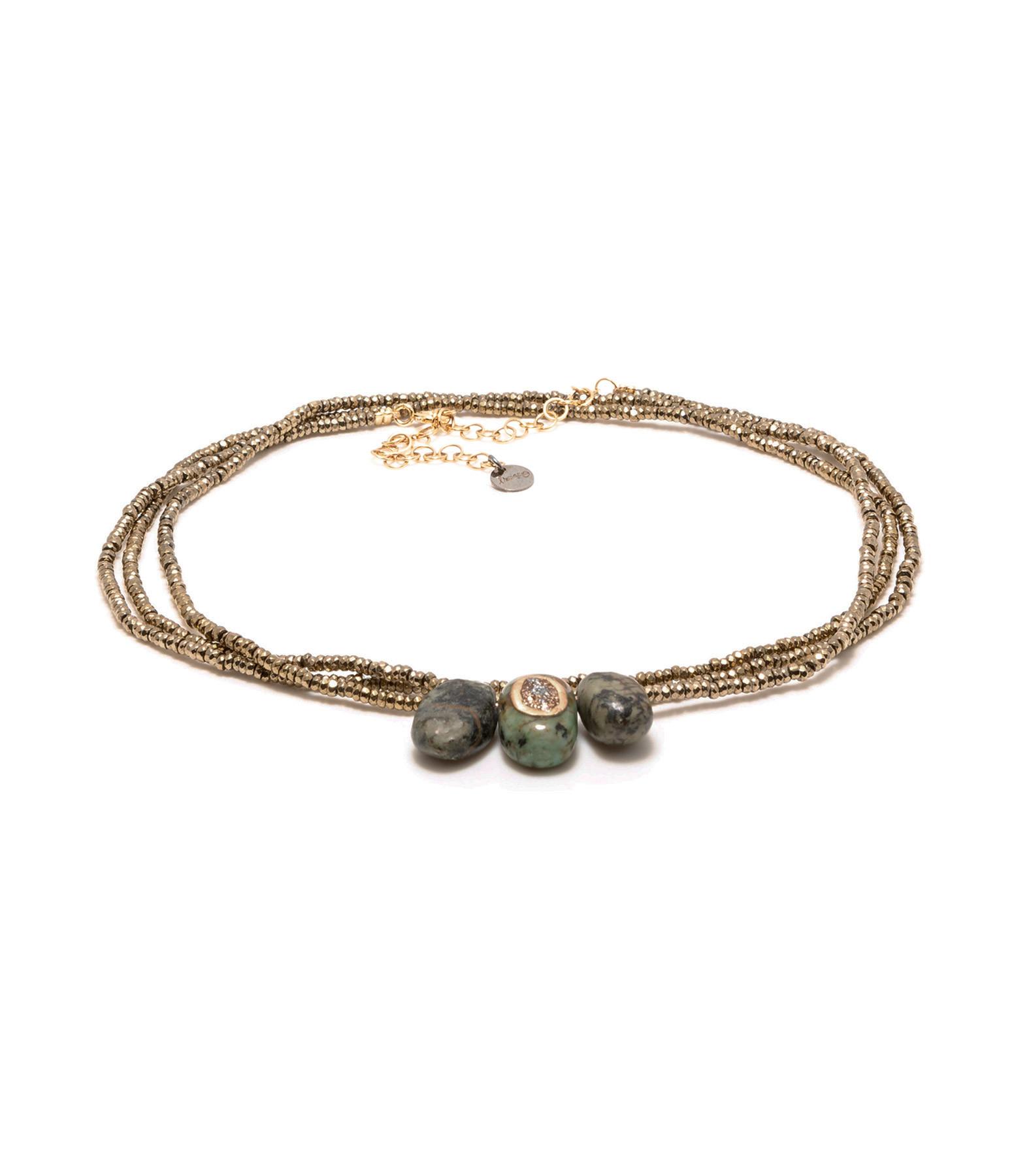LSONGE - Bracelet Multi-tour Minéral Hématite Turquoise AGD