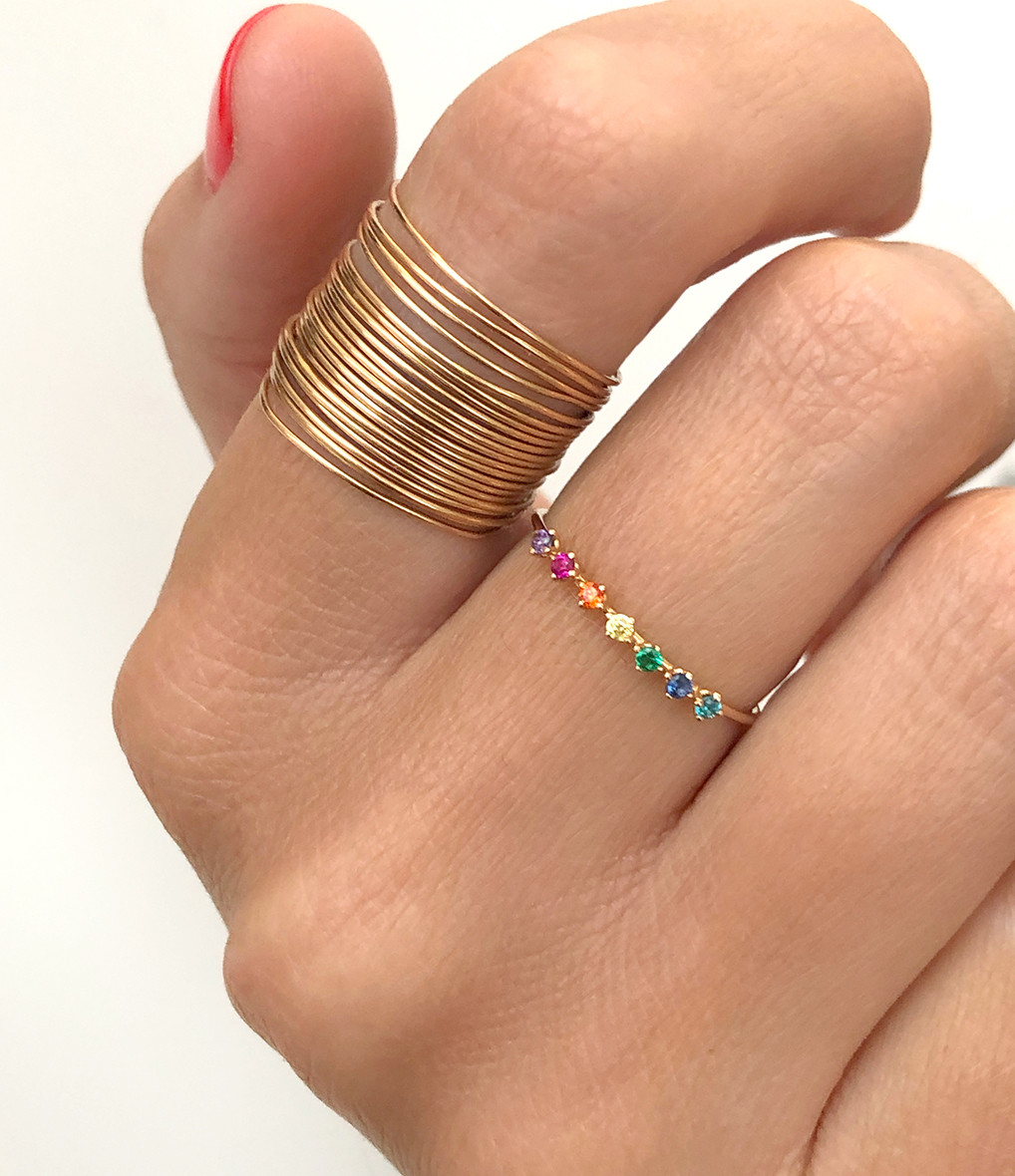 VANRYCKE - Bague Stardust Rainbow Or Rose Pierres Multicolores