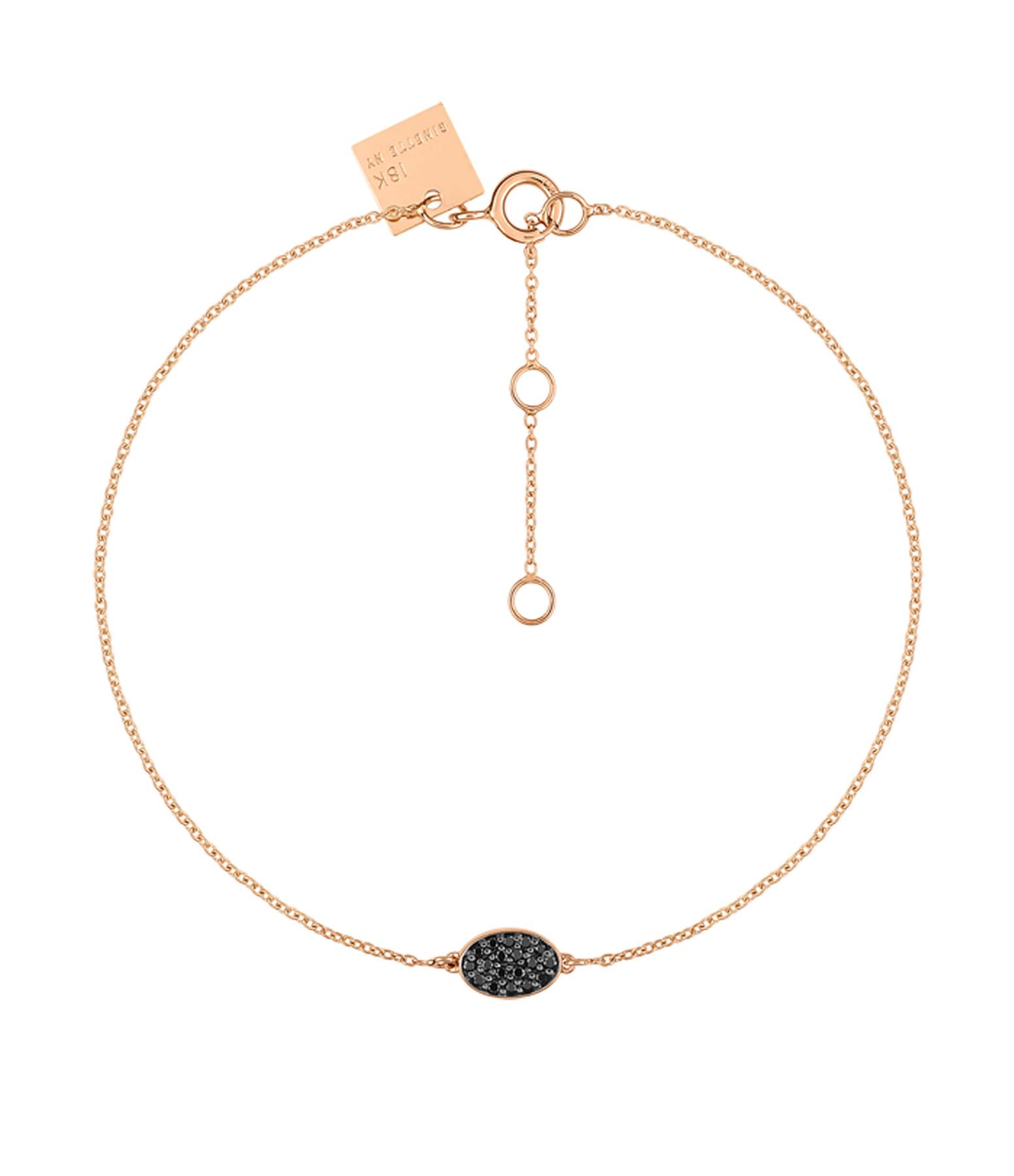 GINETTE_NY - Bracelet Sequin Or Rose Diamants Noirs