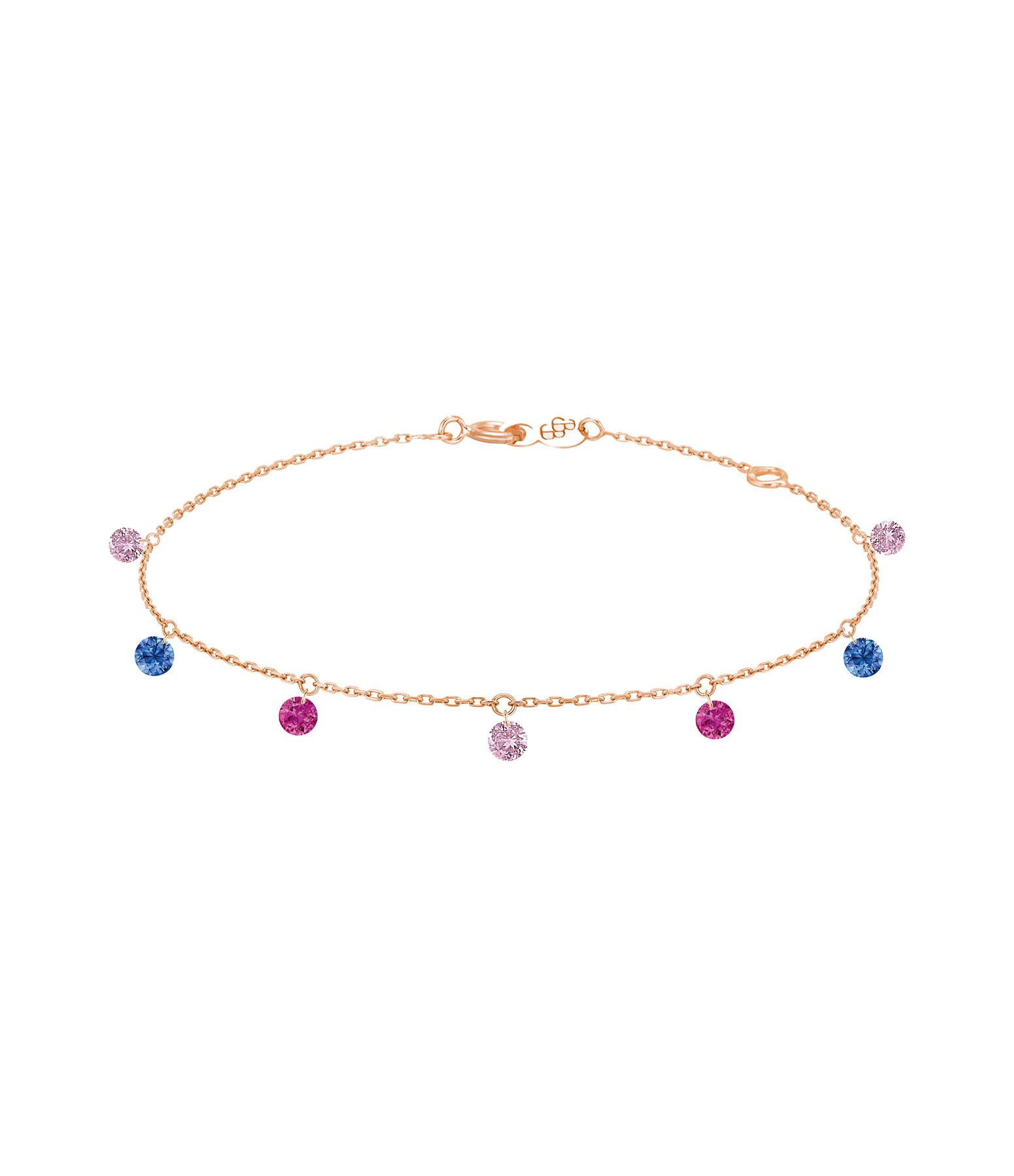 LA BRUNE & LA BLONDE - Bracelet Confetti 7 Venise Rubis Saphirs Or Rose