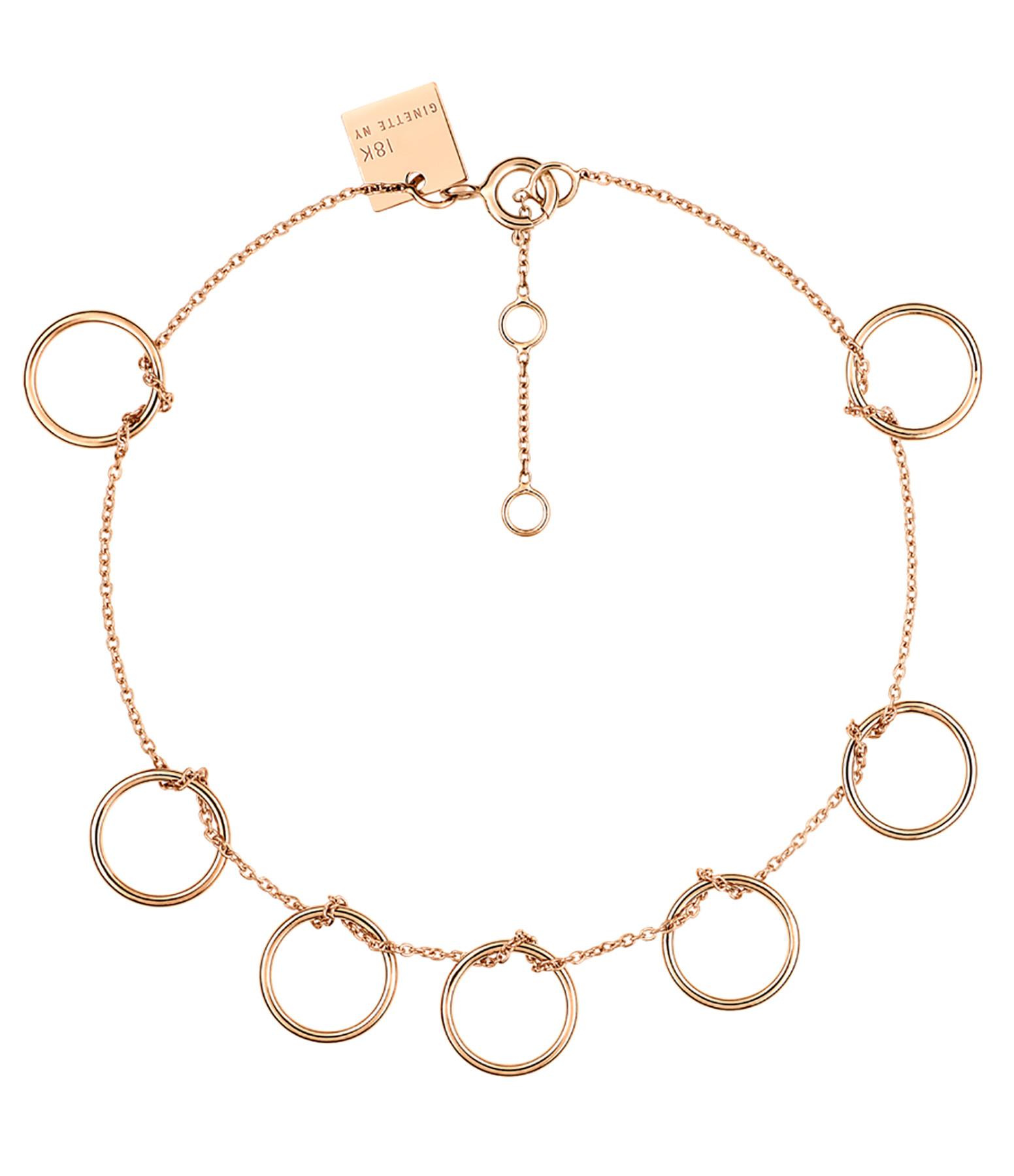 GINETTE NY - Bracelet Tiny 7 Cercles Or Rose