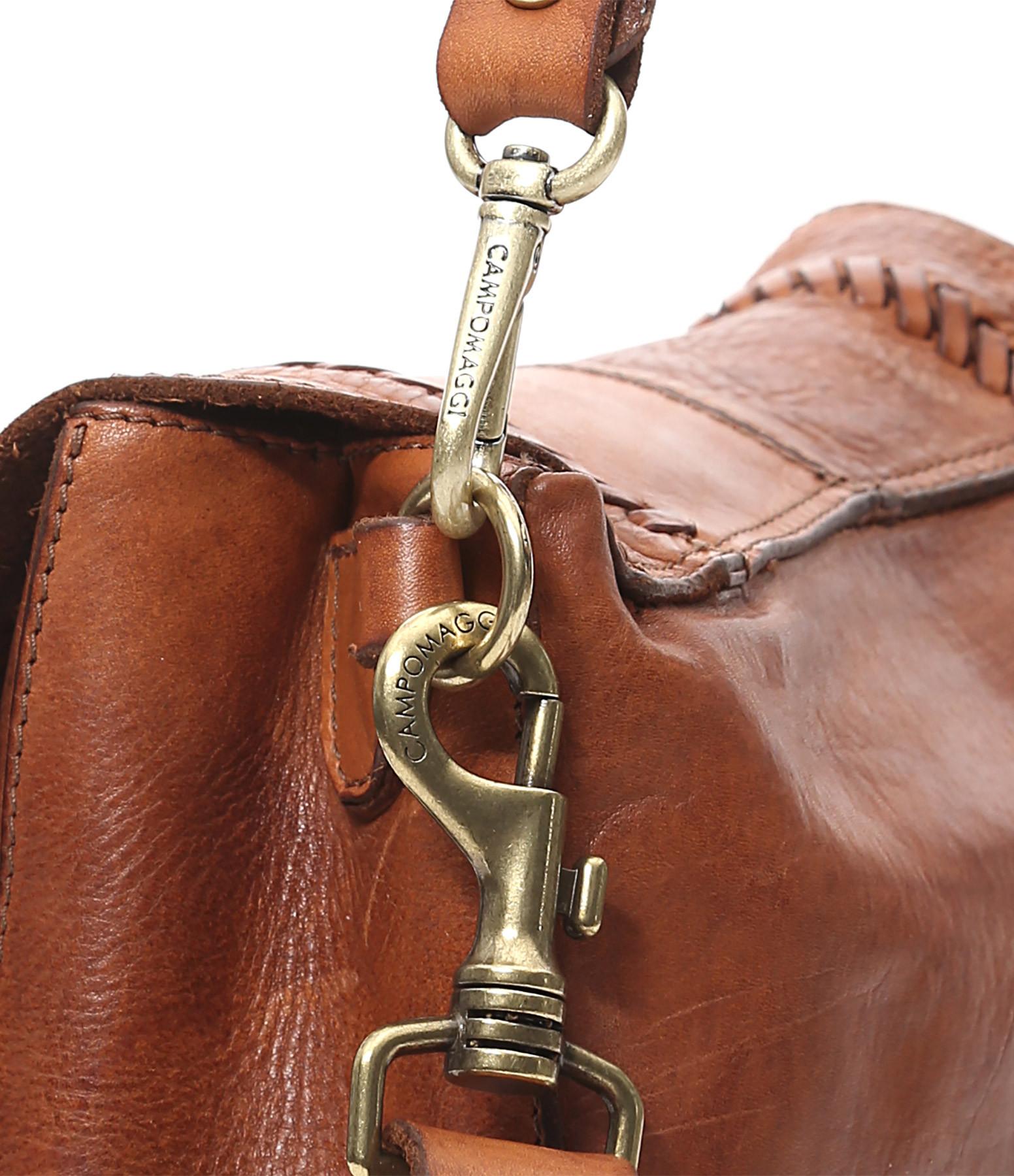 CAMPOMAGGI - Sac Shoulder Small Cuir Clous Cognac