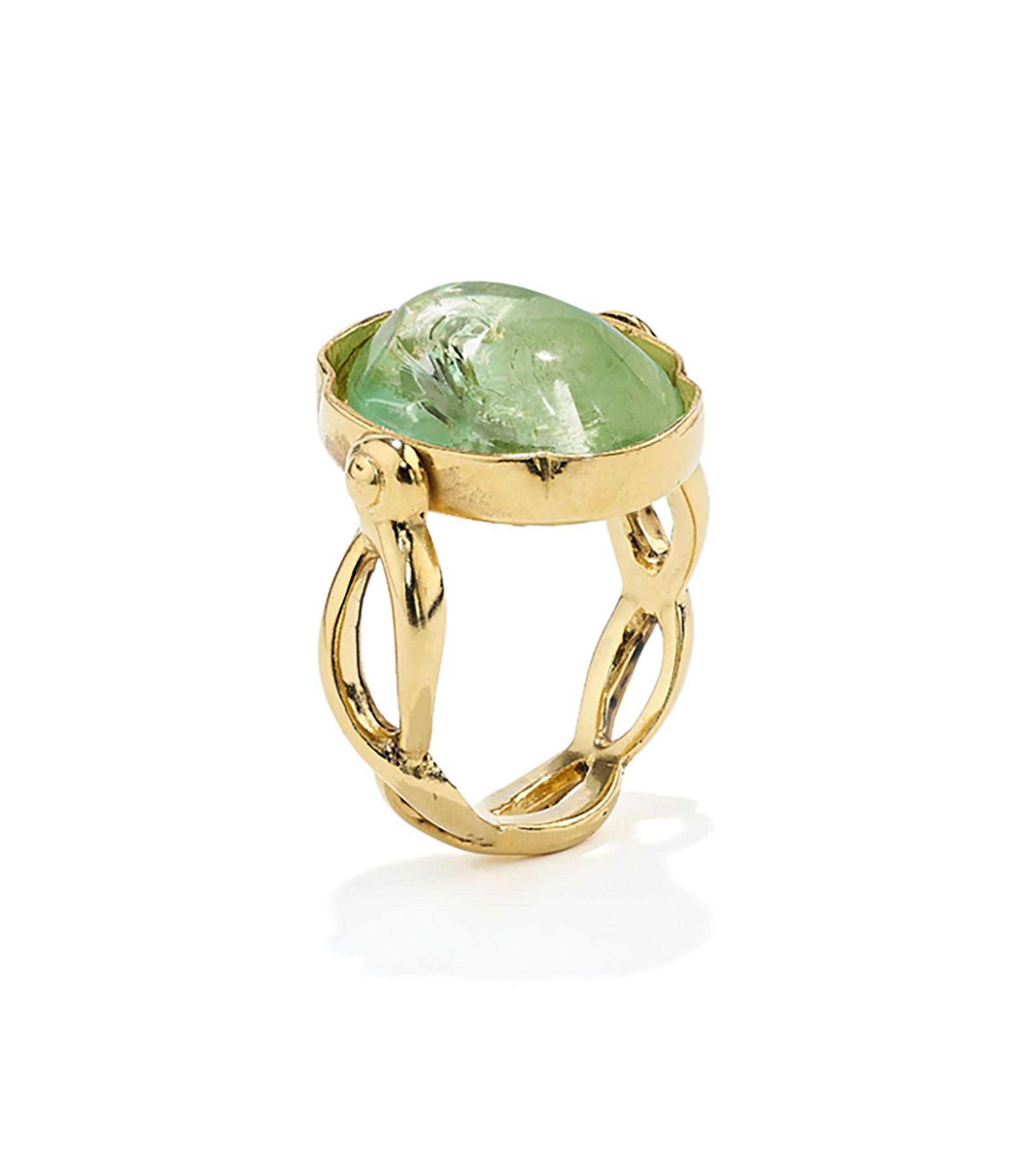 GOOSSENS - Bague Cabochon Ovale Cristal de Roche Vert Clair Plaqué Or