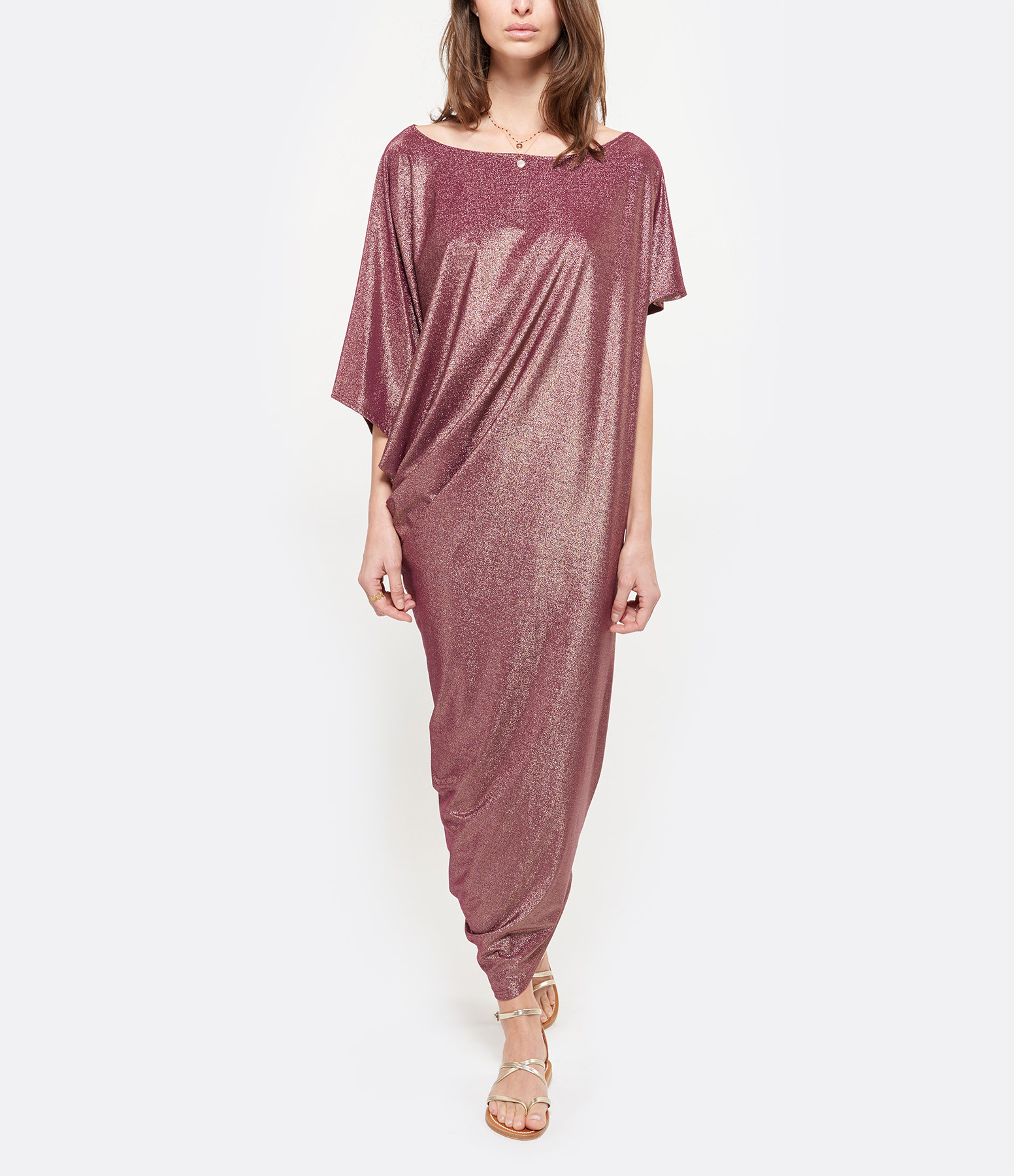 CALARENA - Robe Incontournable Murtoli Lurex Rose Malva