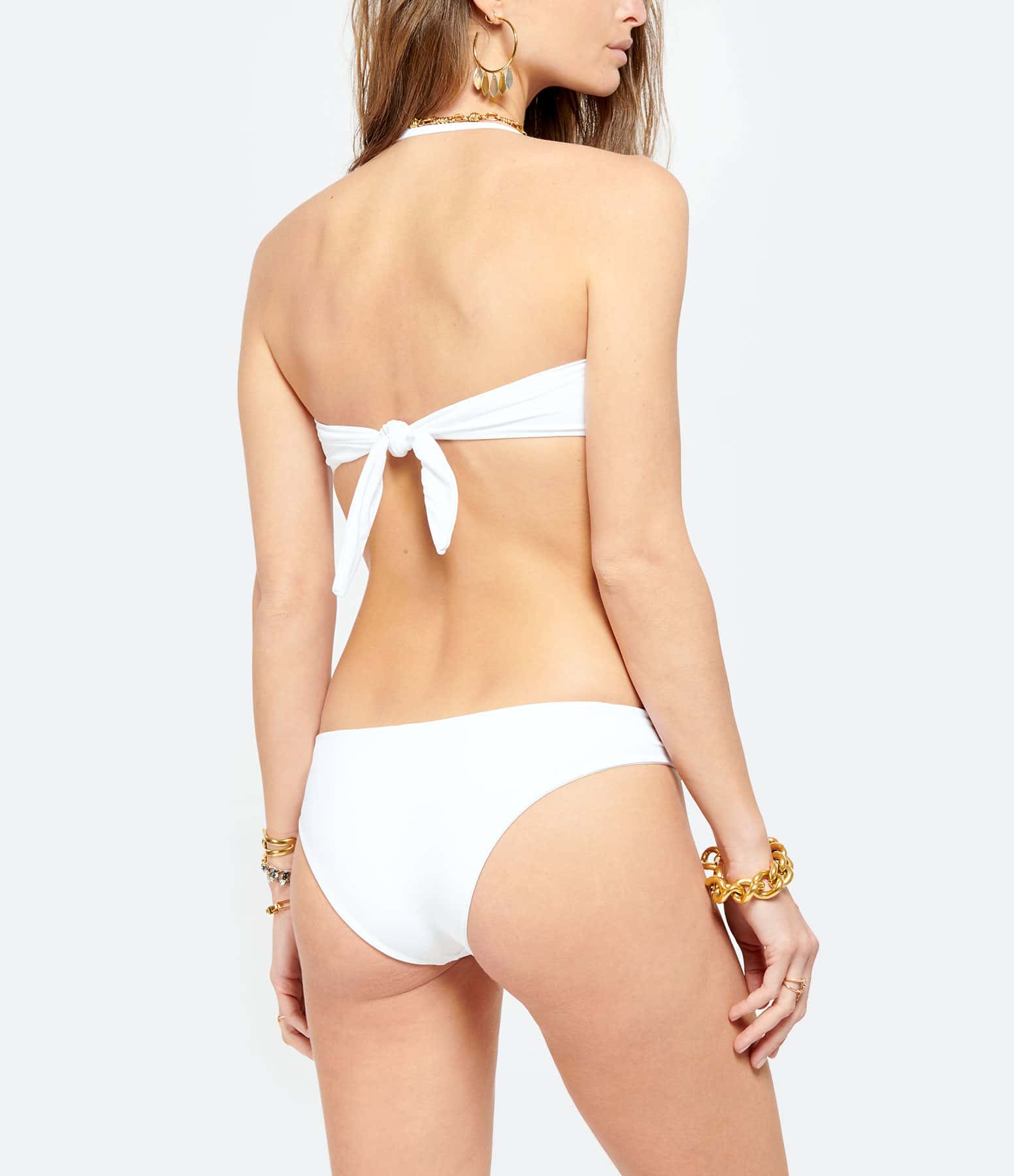 CALARENA - Haut de Maillot de Bain Fugue Blanc Lamé Doré, Collection Escapade d'Été