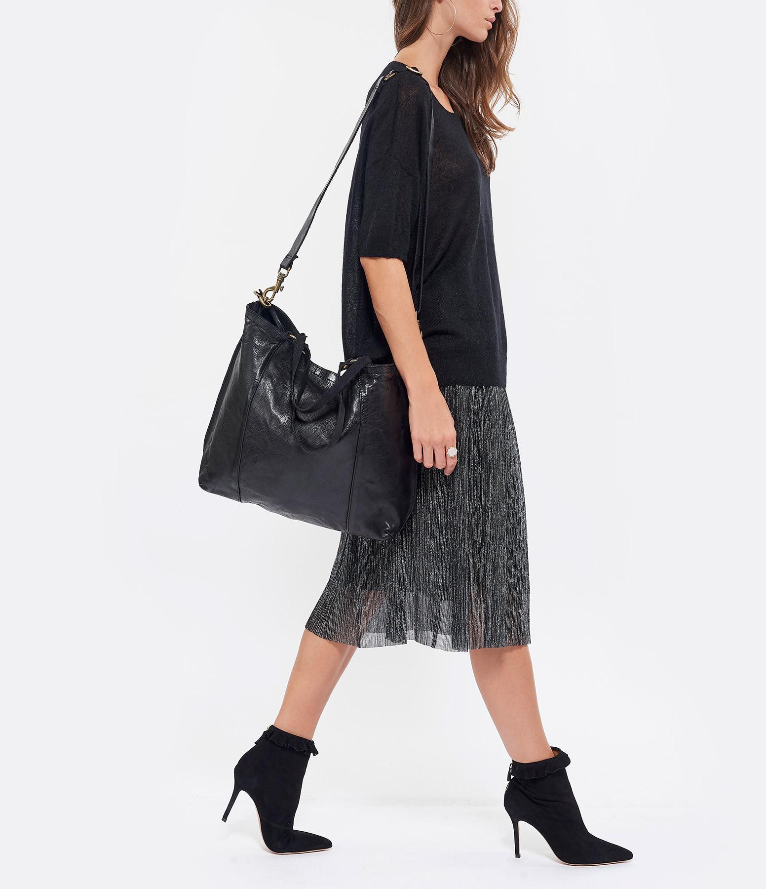 CAMPOMAGGI - Sac Shopping Big Cuir Noir