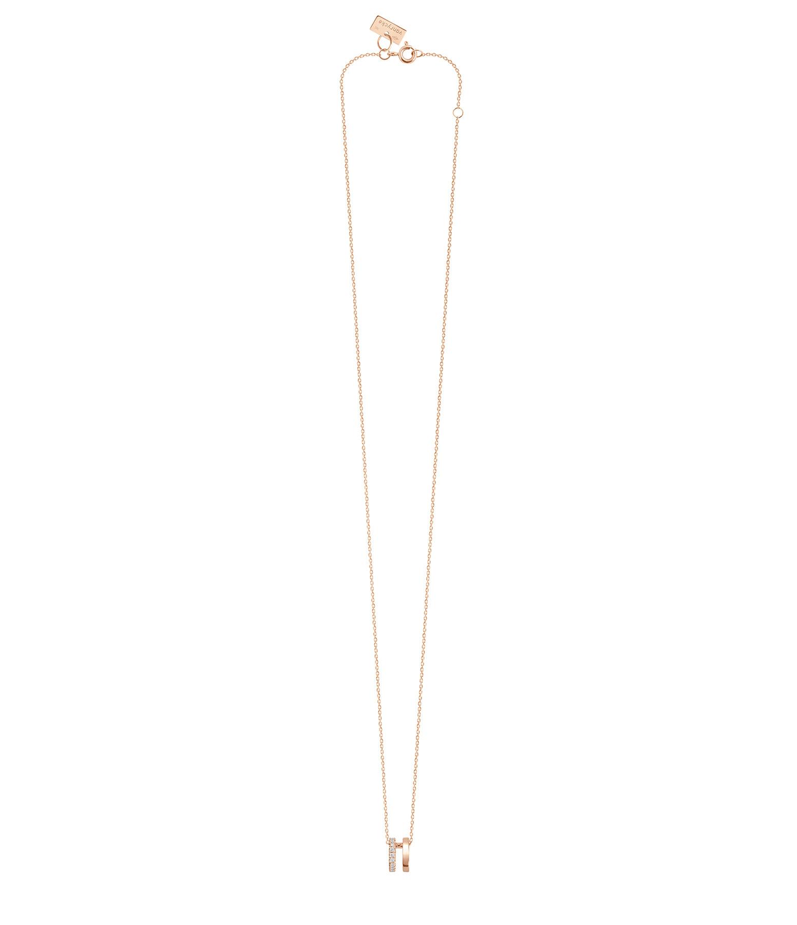 VANRYCKE - Collier Charlie Double Or Rose Rose Semi-Pavée Diamants