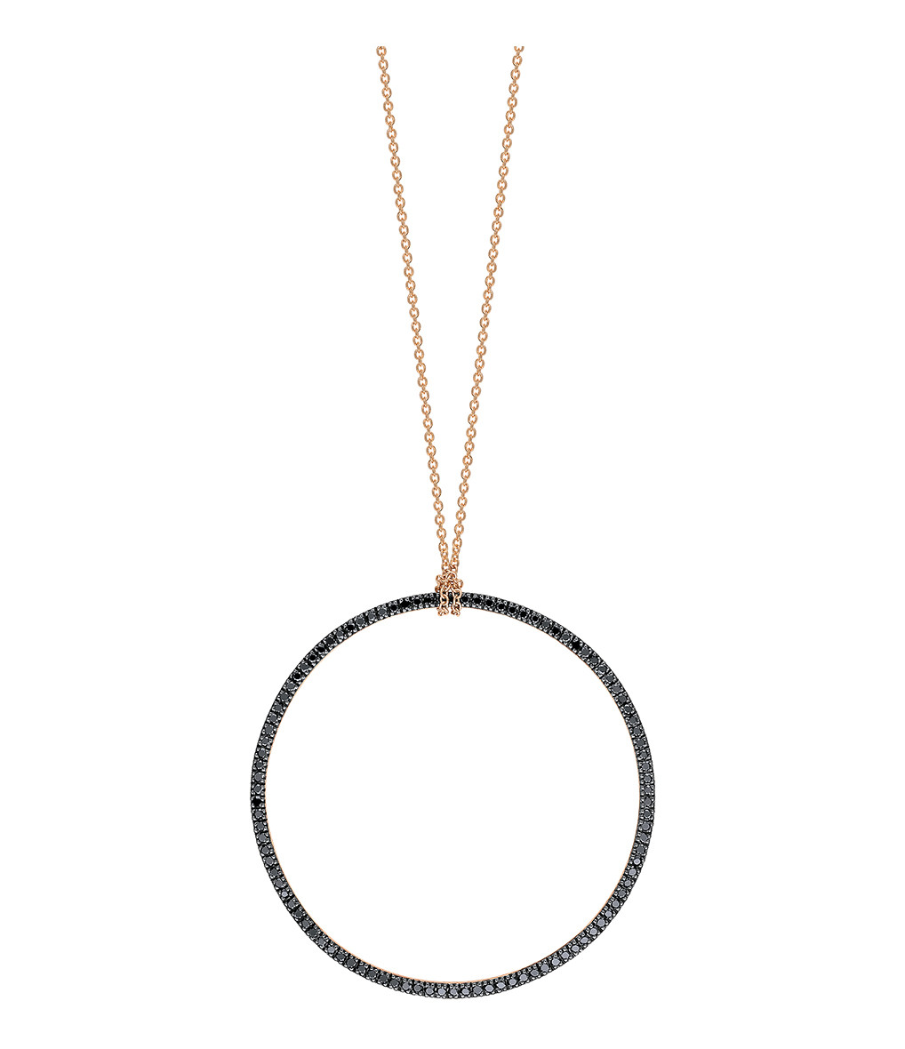 GINETTE_NY - Collier Black Diamonds Circle Diamants Or Rose
