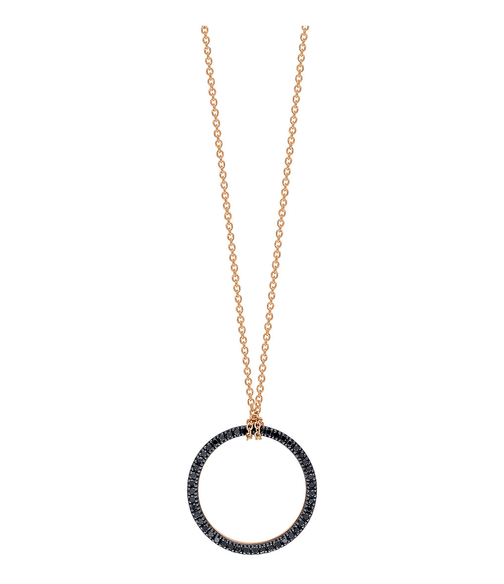 GINETTE_NY - Collier Black Diamonds Circle Mini Diamants Or Rose