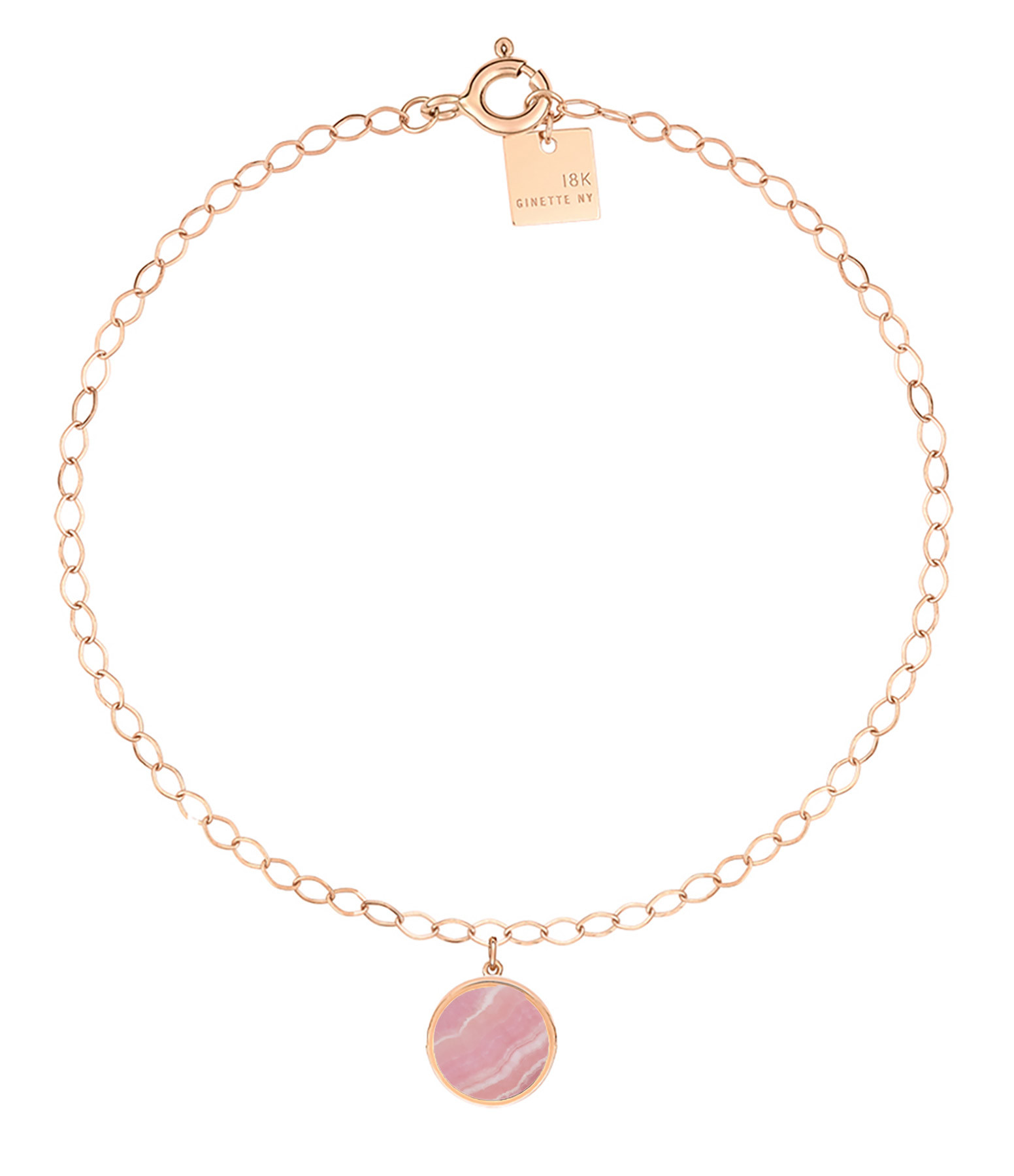 GINETTE NY - Bracelet de Cheville Ever Disc Or Rose Rhodocrosite