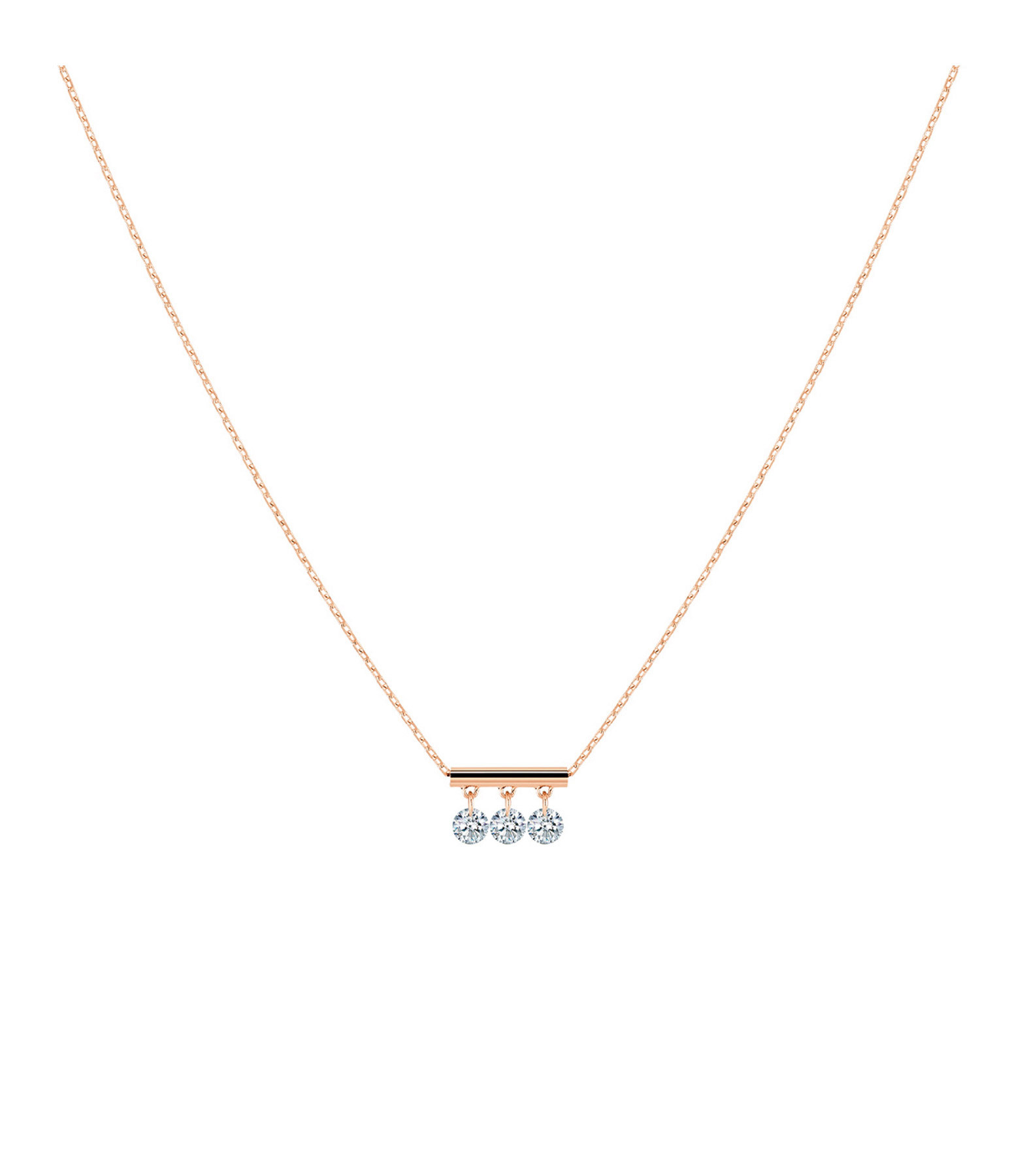 LA BRUNE & LA BLONDE - Collier Pampilles 3 Diamants Brillants Or Rose