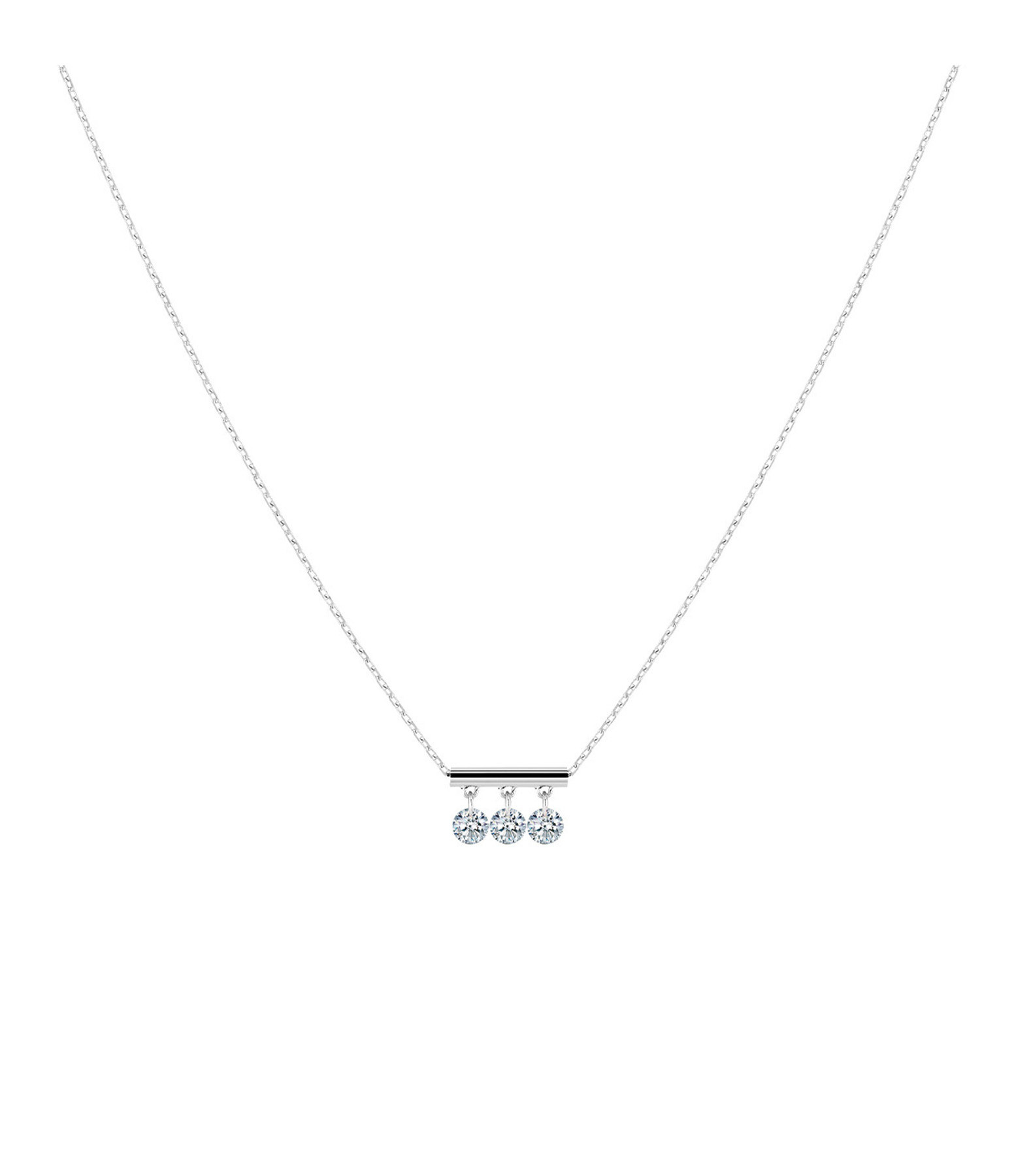 LA BRUNE & LA BLONDE - Collier Pampilles 3 Diamants Brillants Or Blanc