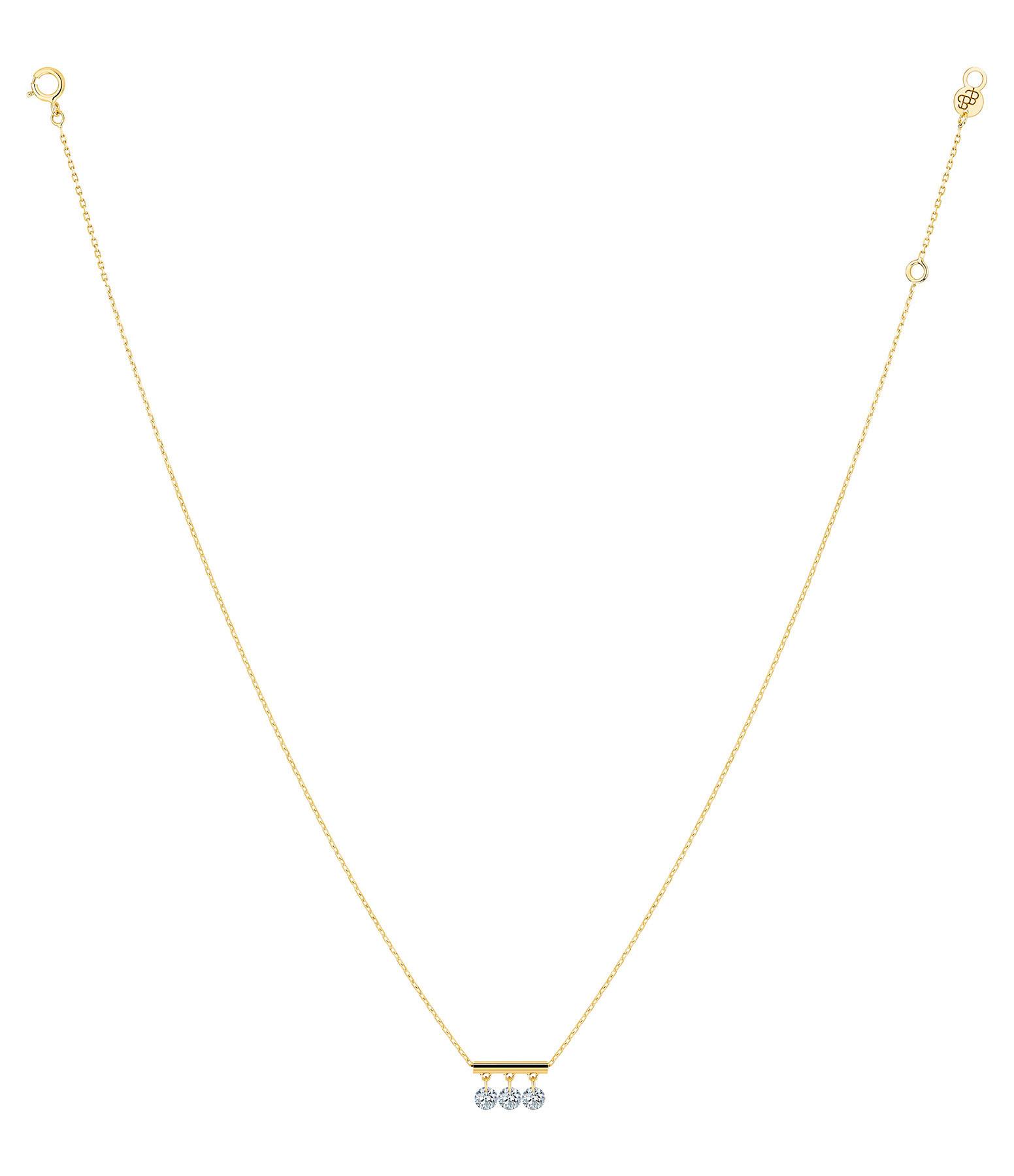 LA BRUNE & LA BLONDE - Collier Pampilles 3 Diamants Brillants Or Jaune