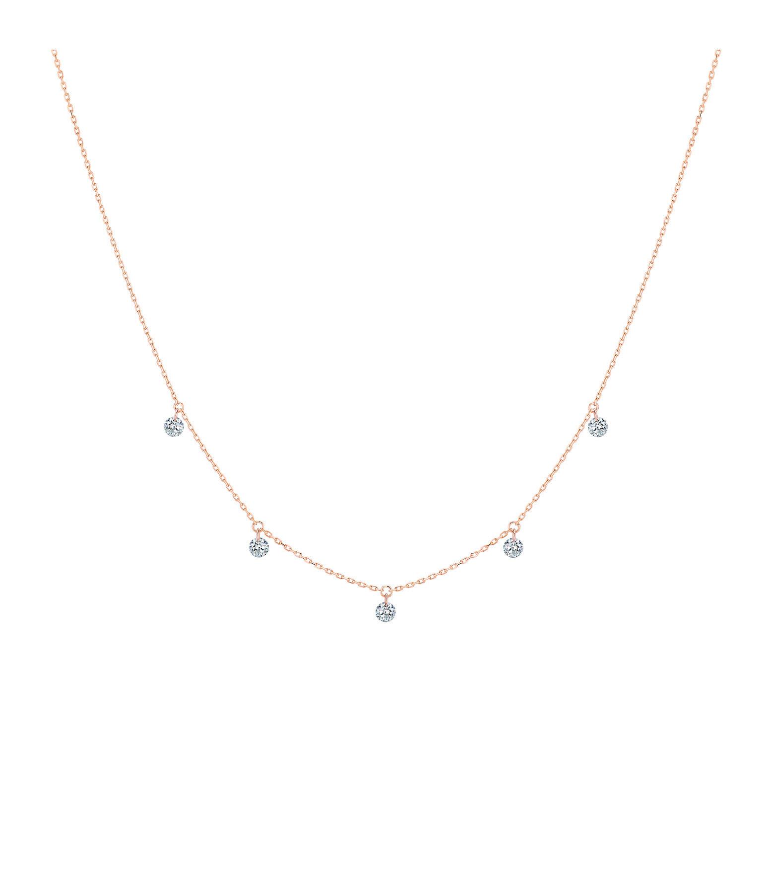 LA BRUNE & LA BLONDE - Collier 360° 5 Diamants Brillants Or Rose