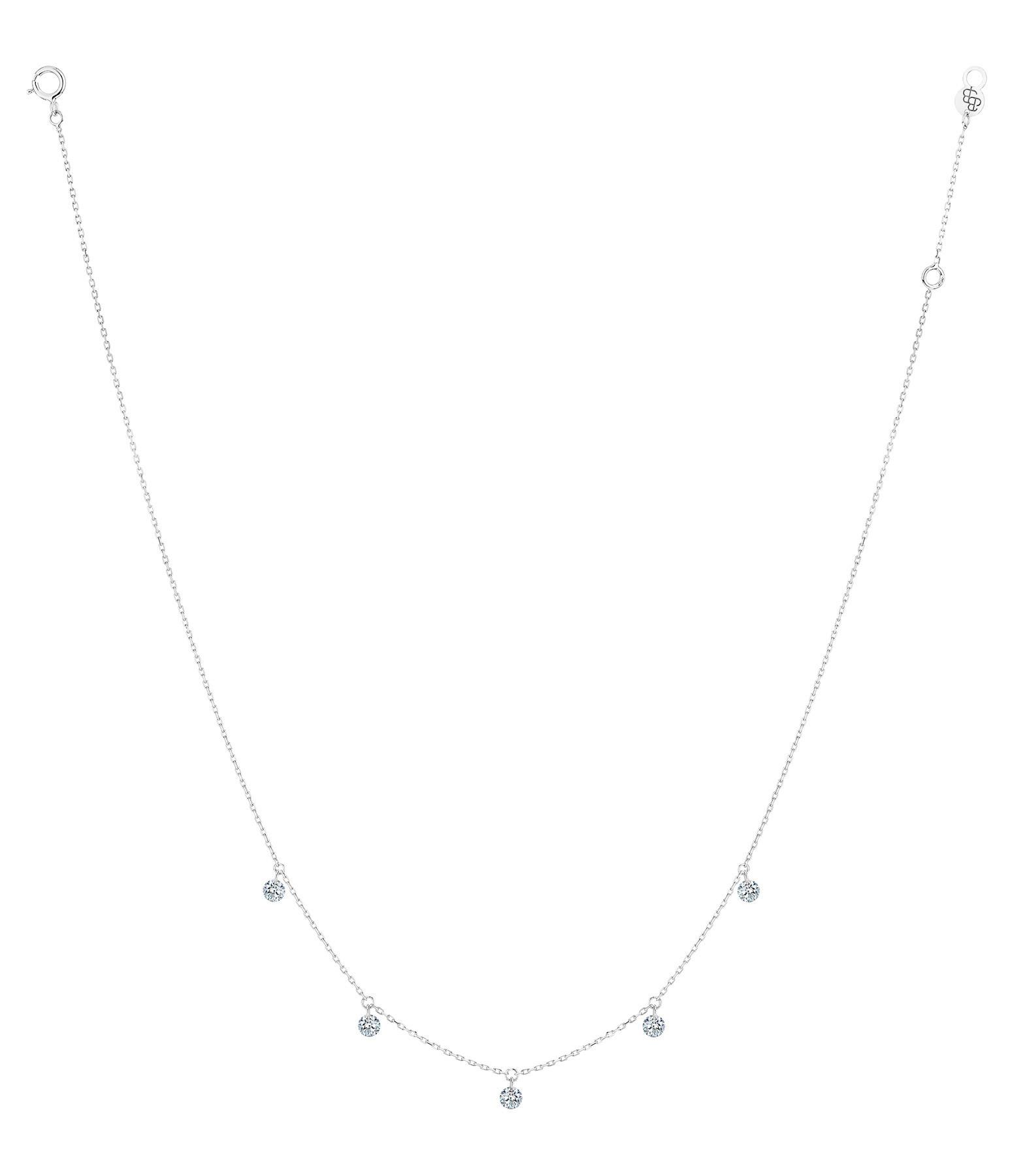 LA BRUNE & LA BLONDE - Collier 360° 5 Diamants Brillants Or Blanc