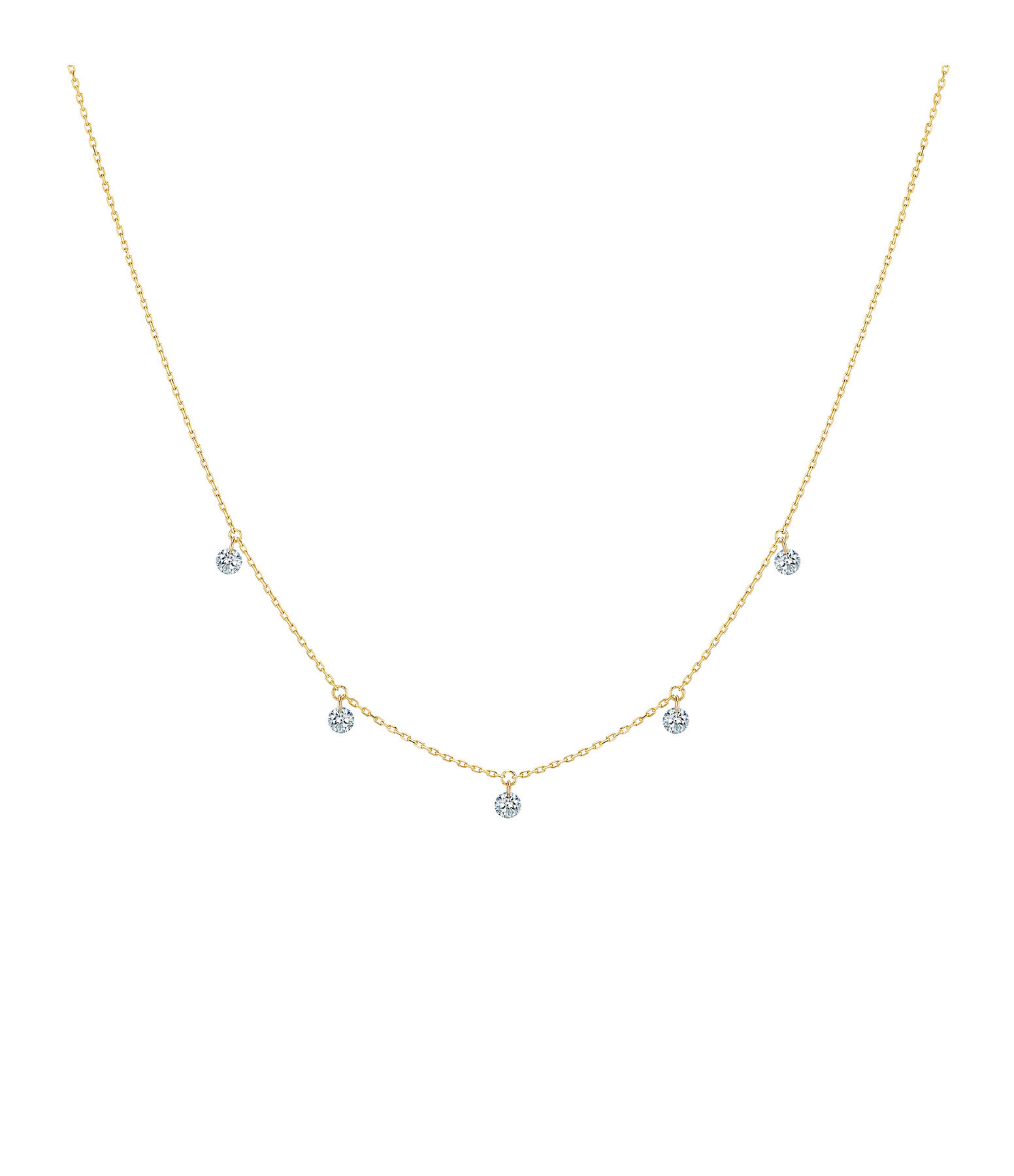 LA BRUNE & LA BLONDE - Collier 360° 5 Diamants Brillants Or Jaune